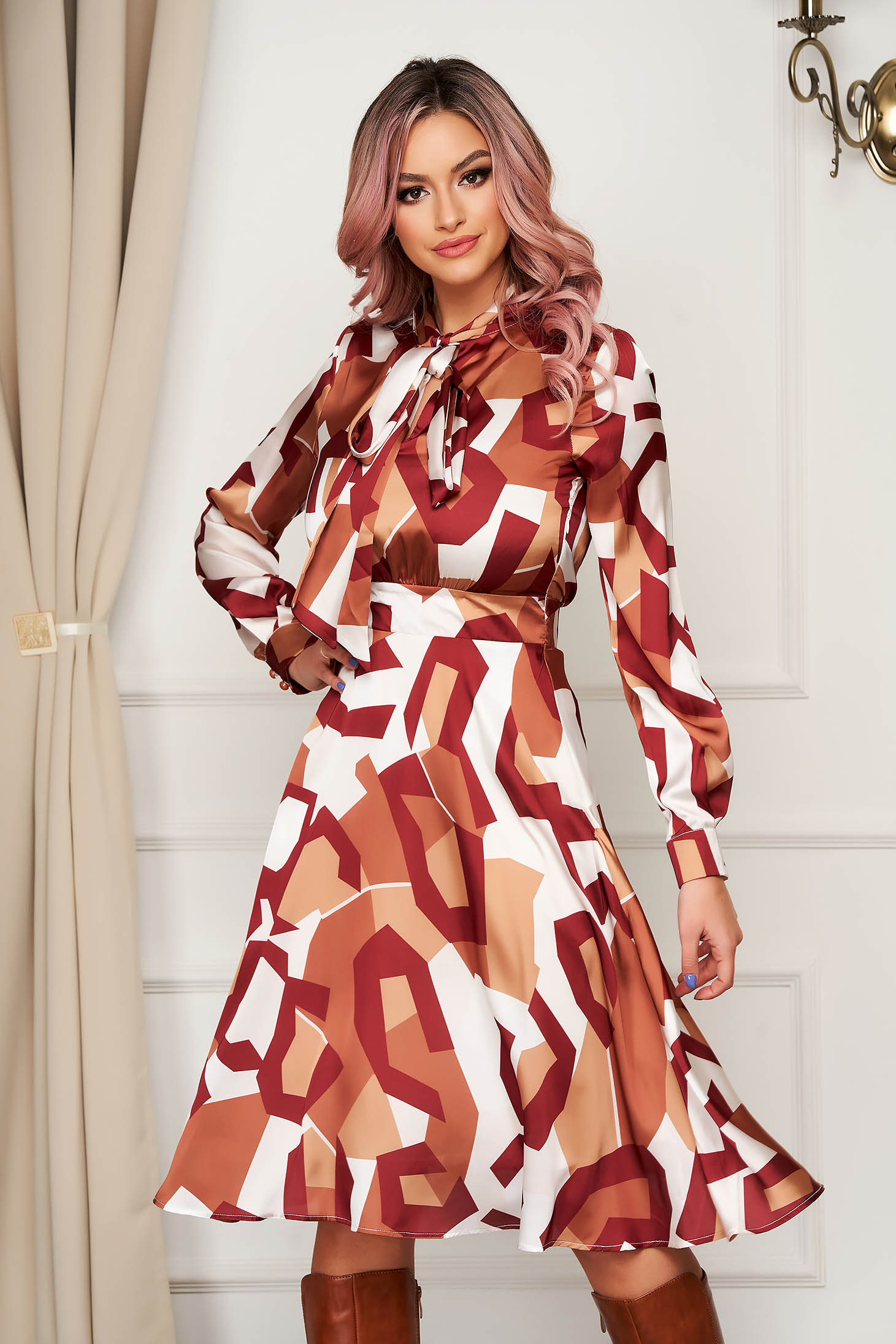 Bricky dress elegant midi daily cloche from veil fabric