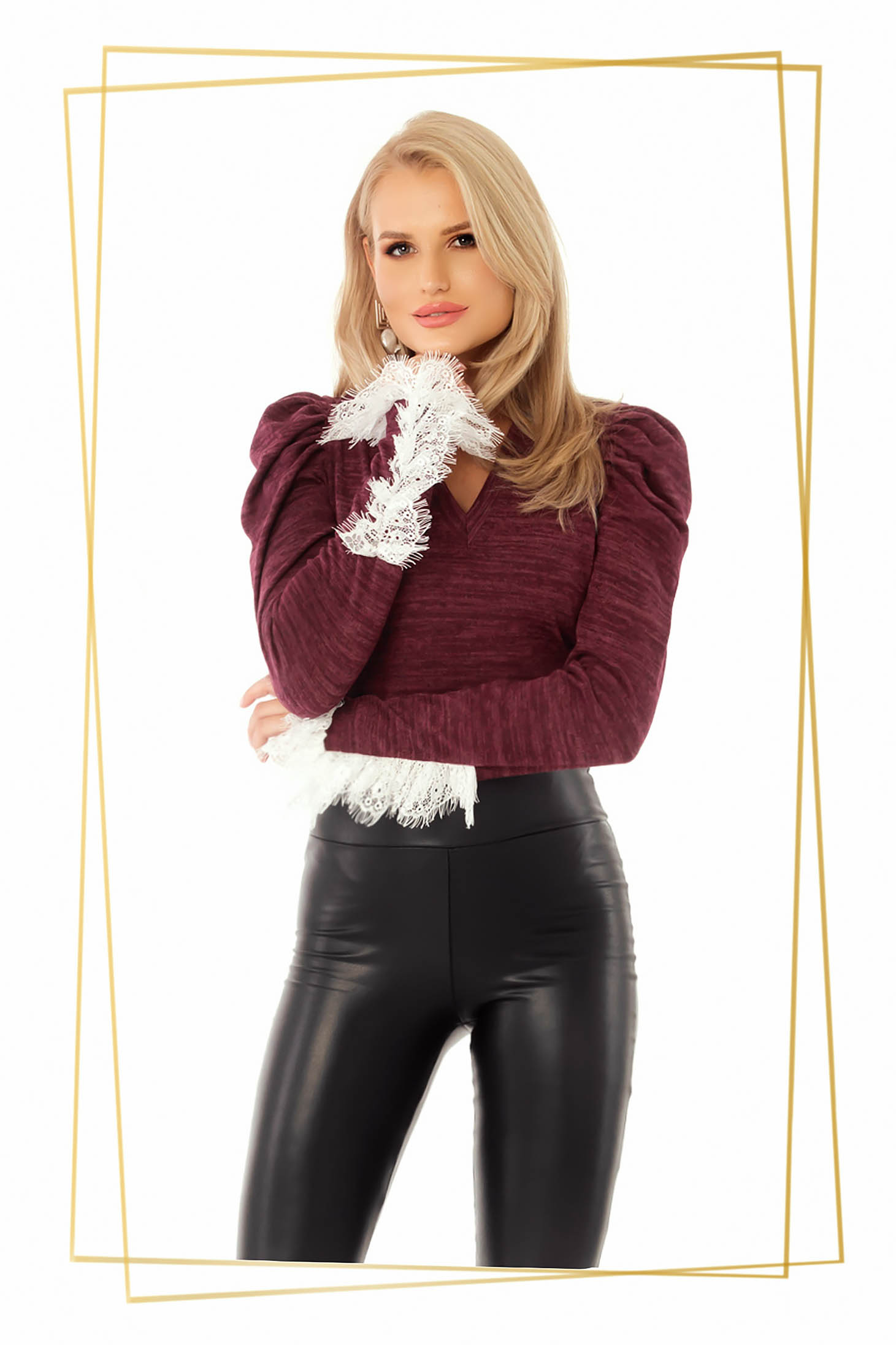 Women`s blouse burgundy with tented cut with v-neckline knitted fabric with lace details