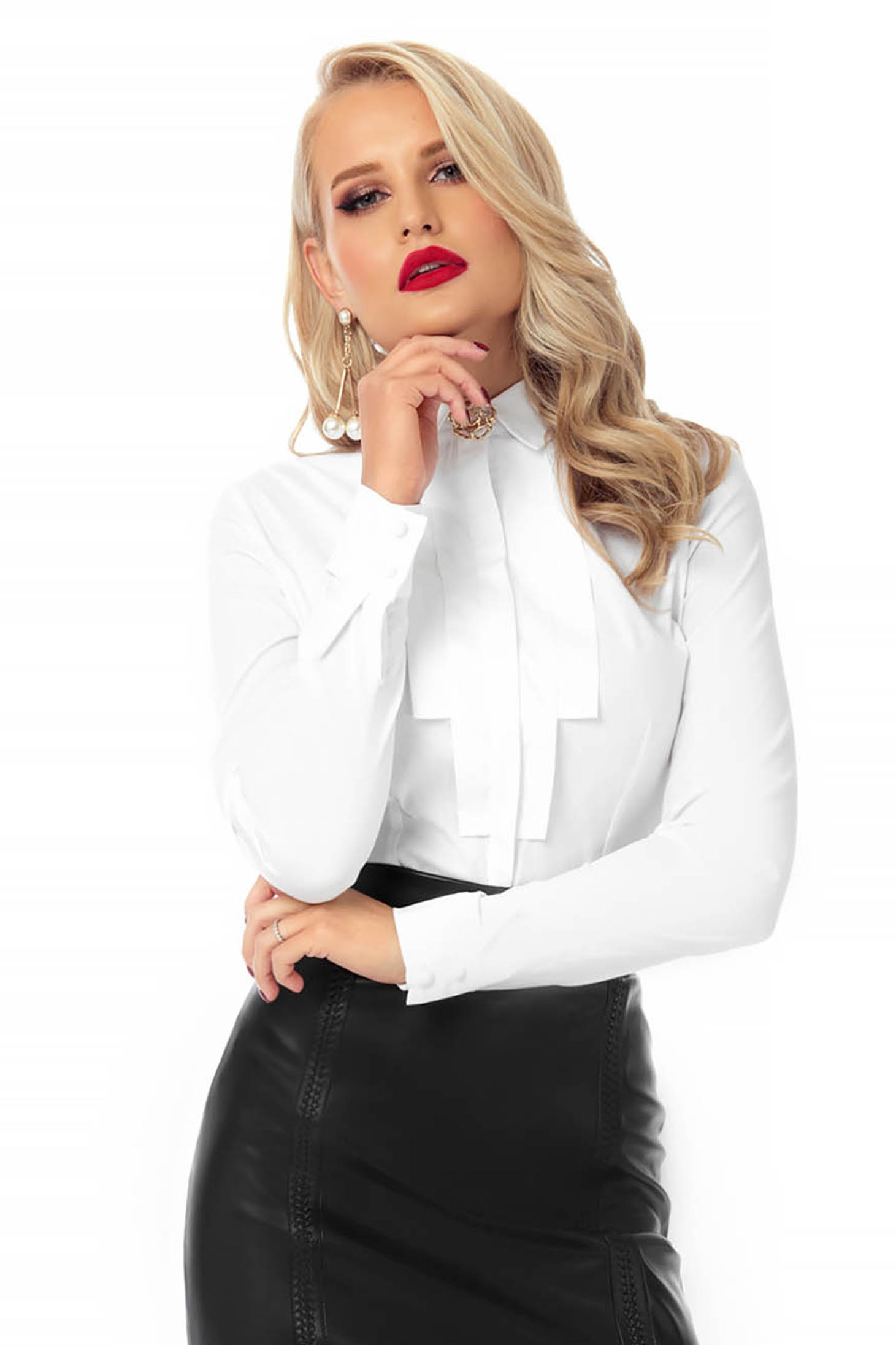 Camasa dama PrettyGirl alba mulata office din material subtire cu guler tip esarfa