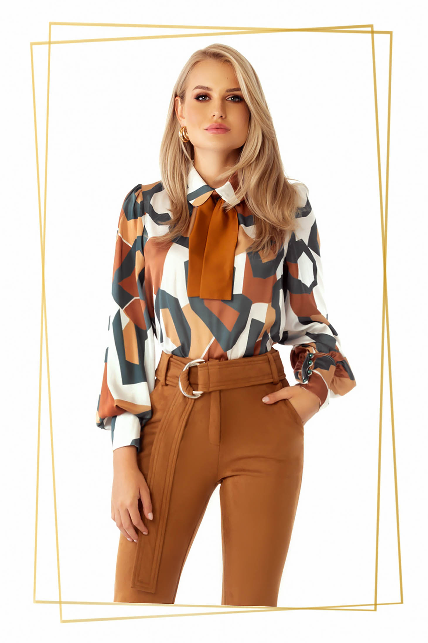 Women`s blouse brown elegant flared with puffed sleeves from satin fabric texture with geometrical print