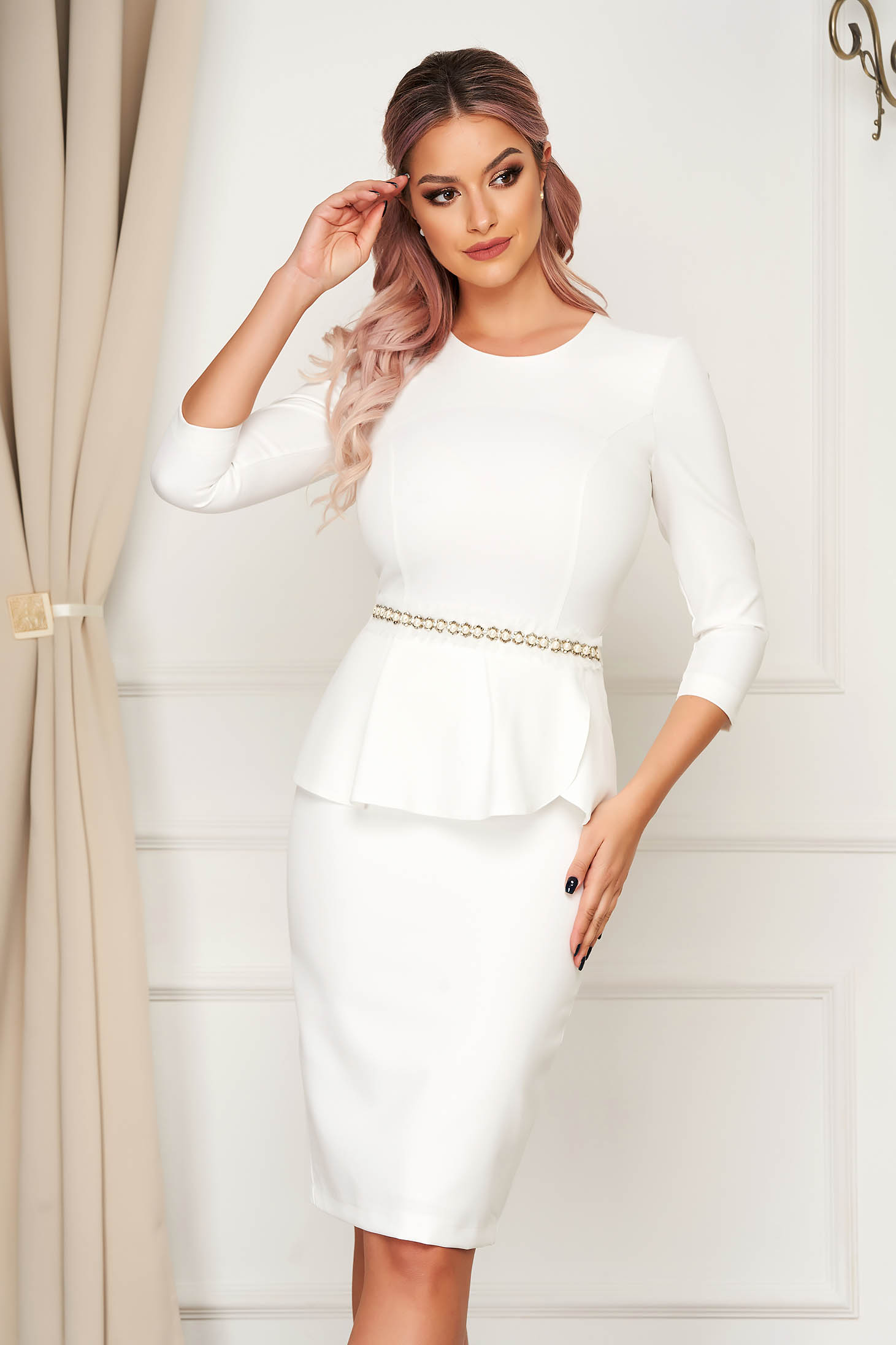 Dress StarShinerS white elegant pencil slightly elastic fabric accessorized with tied waistband