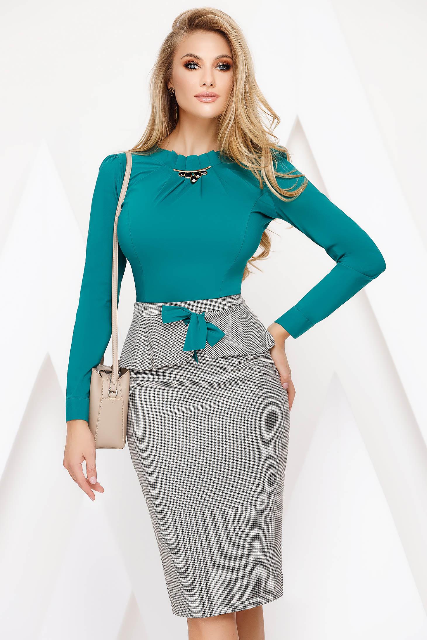 Skirt green office midi pencil cloth thin fabric