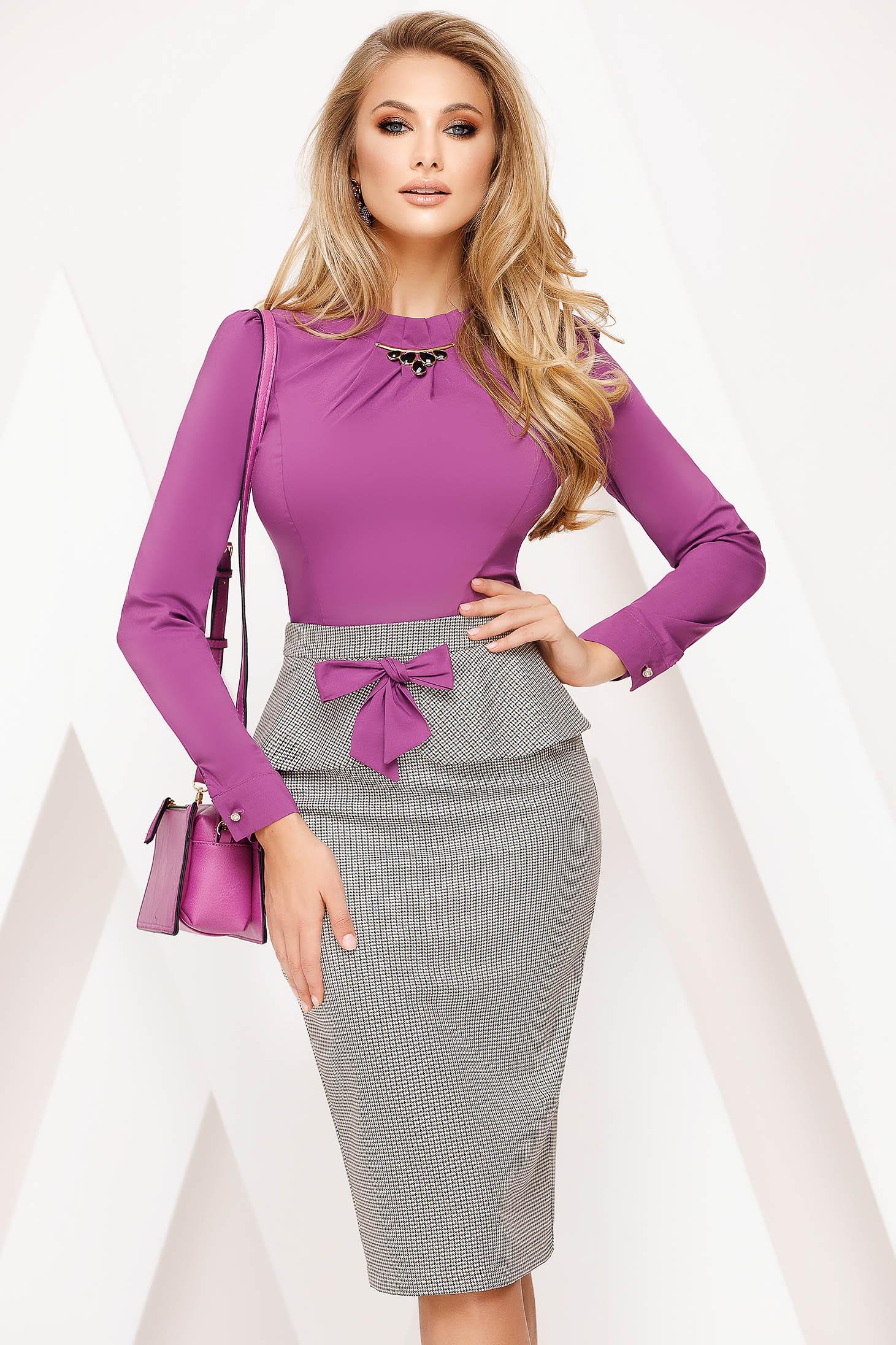 Skirt purple office midi pencil cloth thin fabric