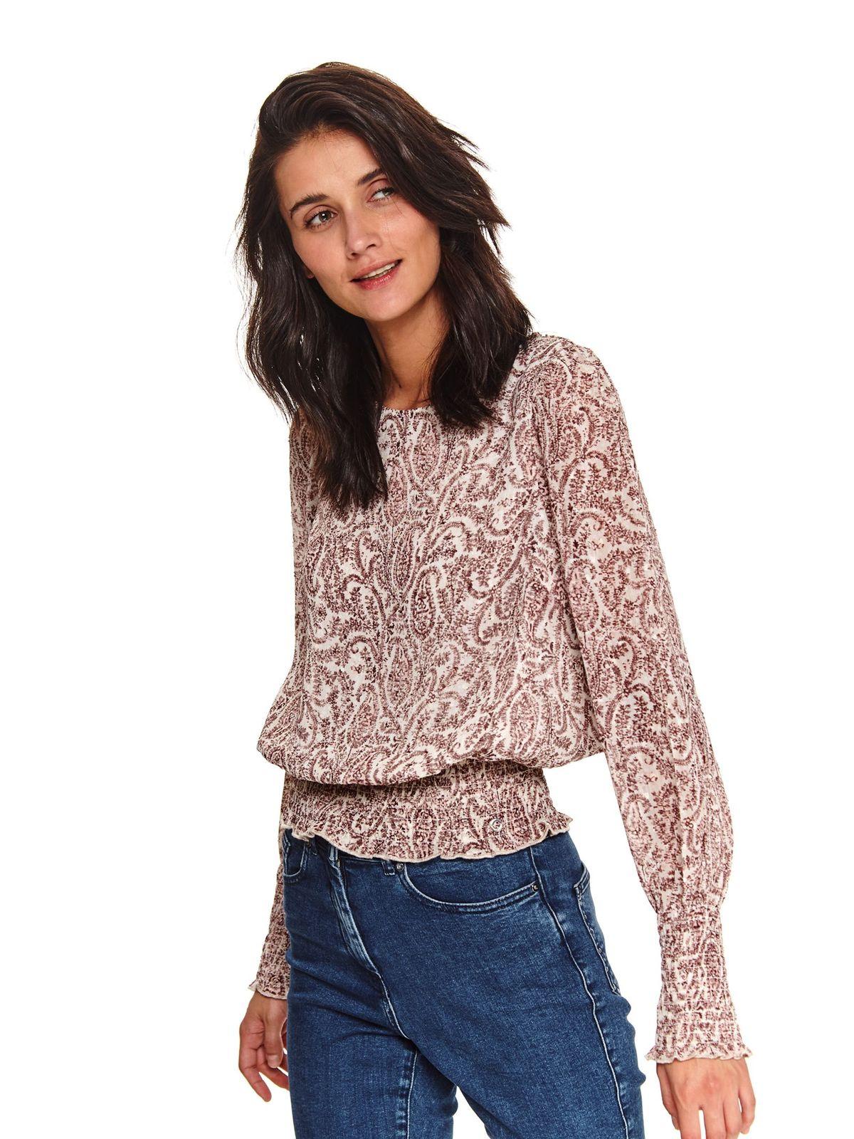 Bluza dama Top Secret crem casual din material subtire cu croi larg si maneci lungi