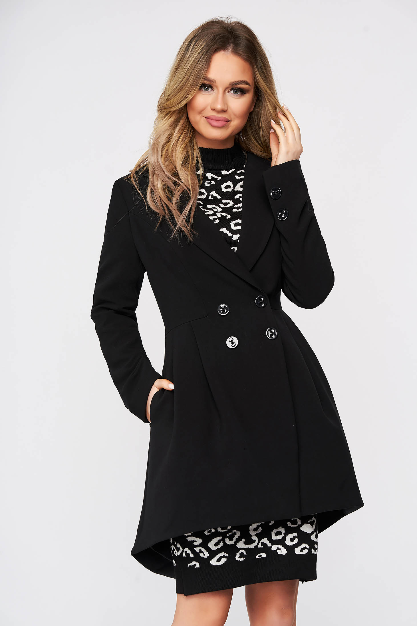Overcoat black tented with inside lining slightly elastic fabric