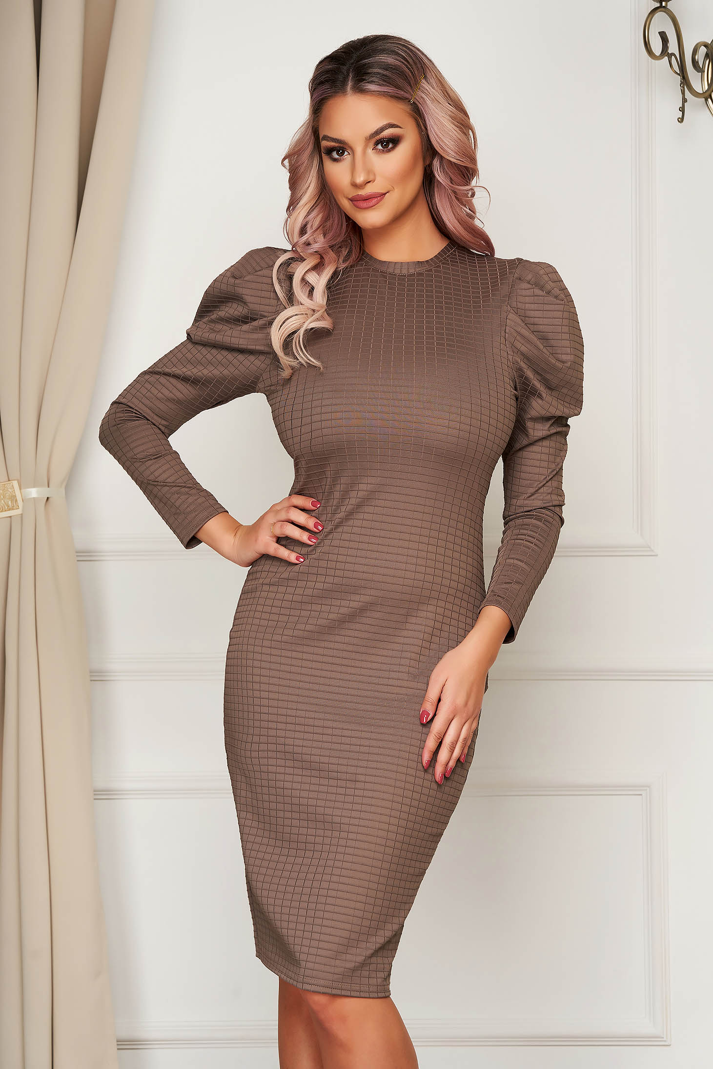 Brown dress daily pencil from elastic fabric lycra