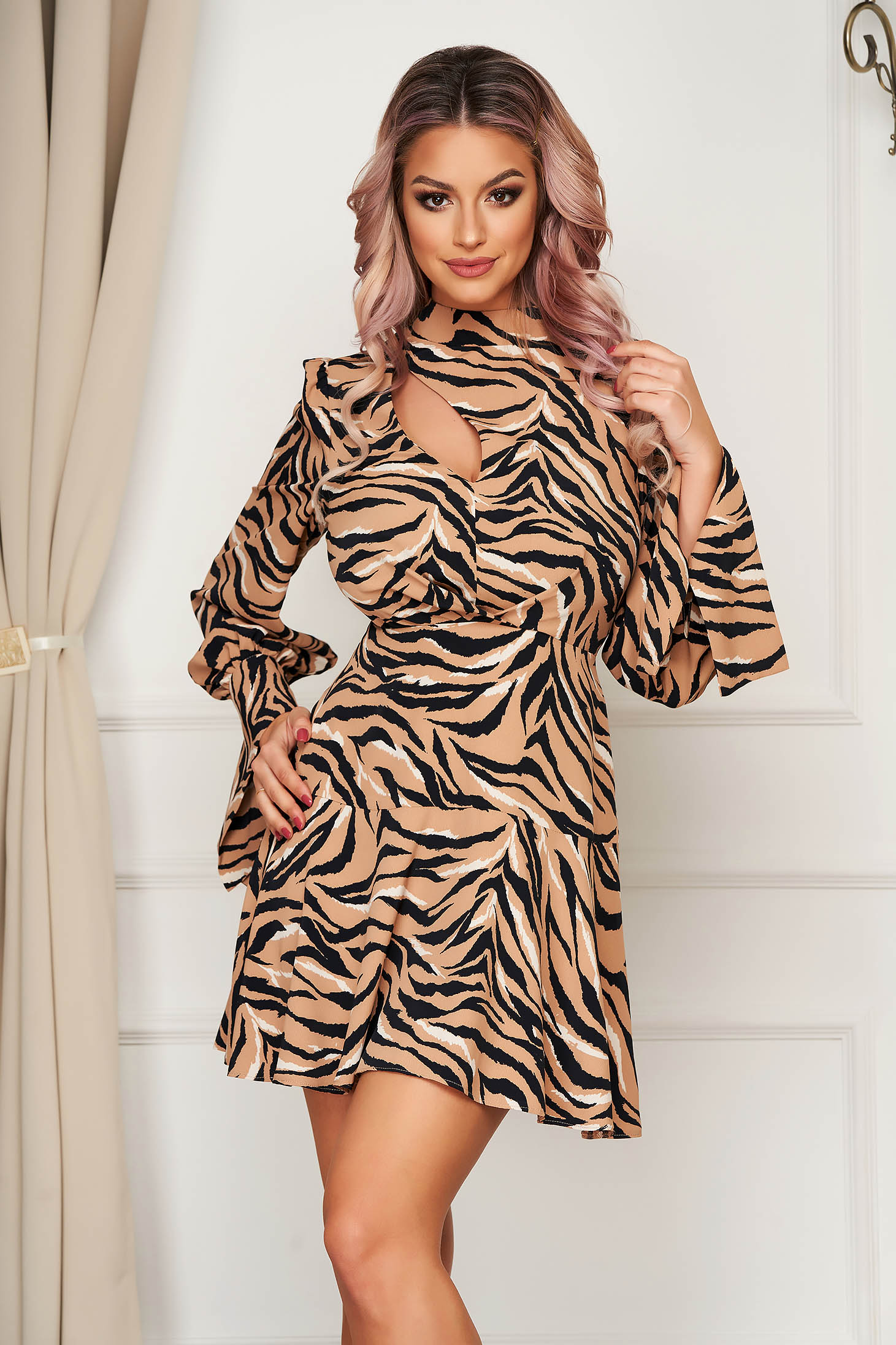 Brown dress daily a-line voile fabric animal print cut-out bust design