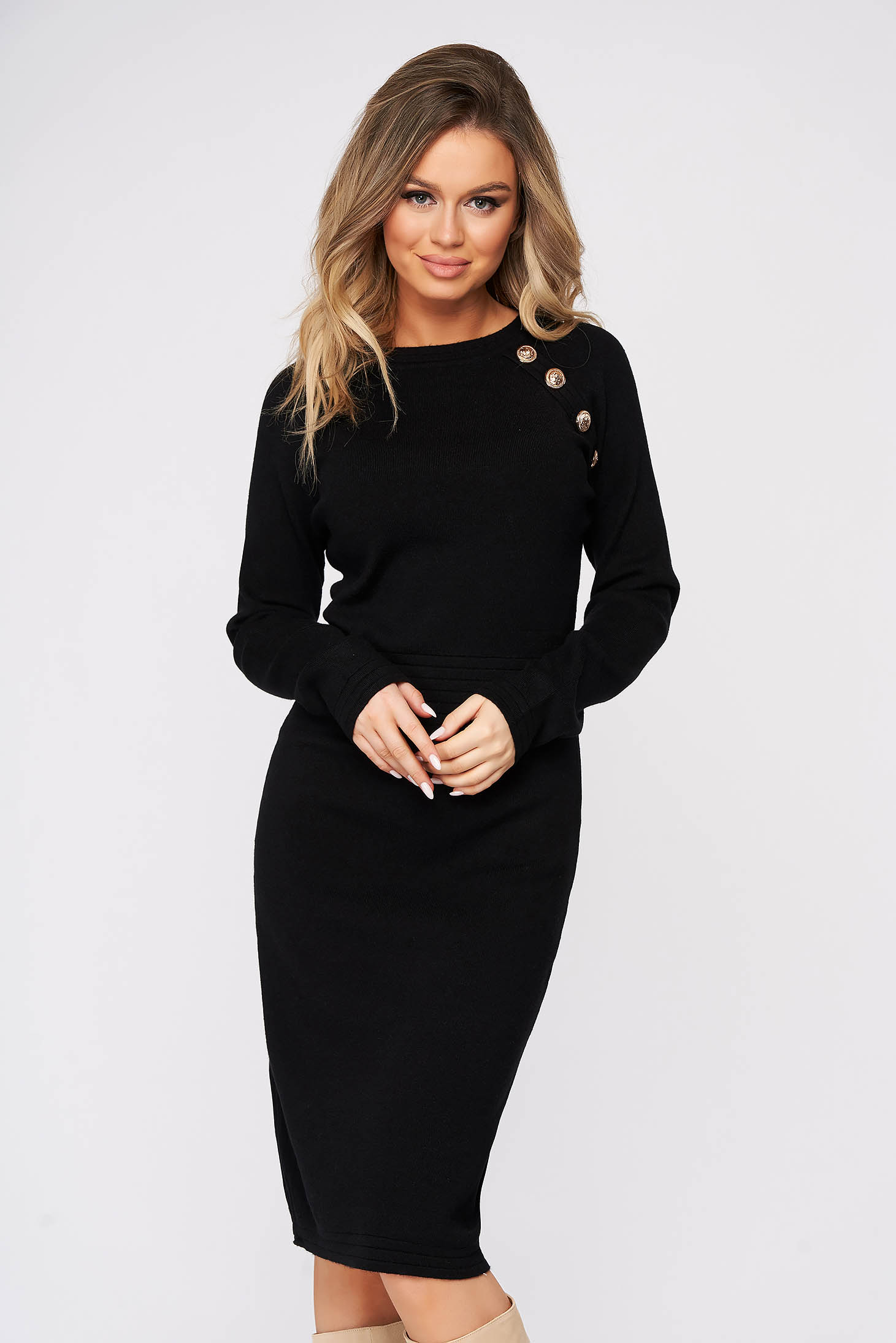 Black dress midi pencil knitted fabric with button accessories