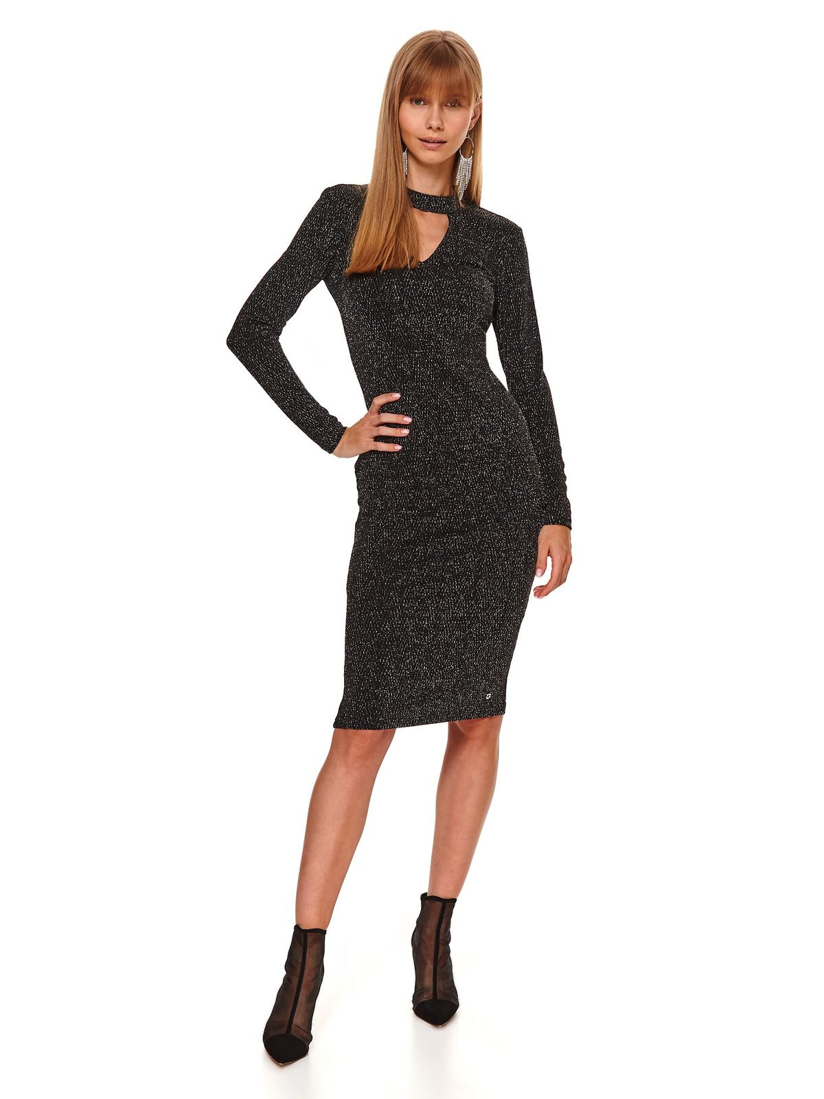 Black dress clubbing pencil cut-out bust design from elastic fabric