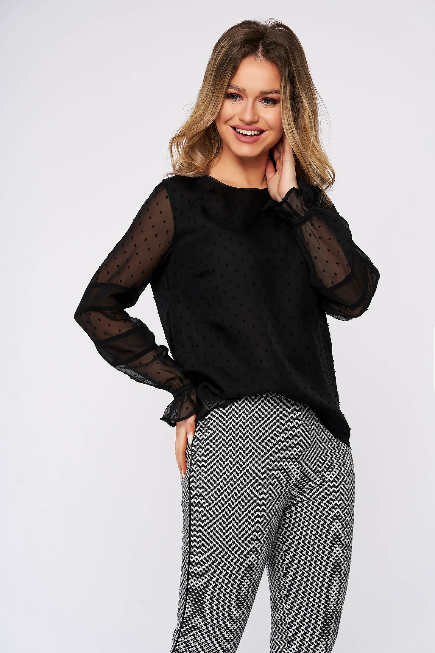 Black women`s blouse casual flared voile fabric transparent sleeves