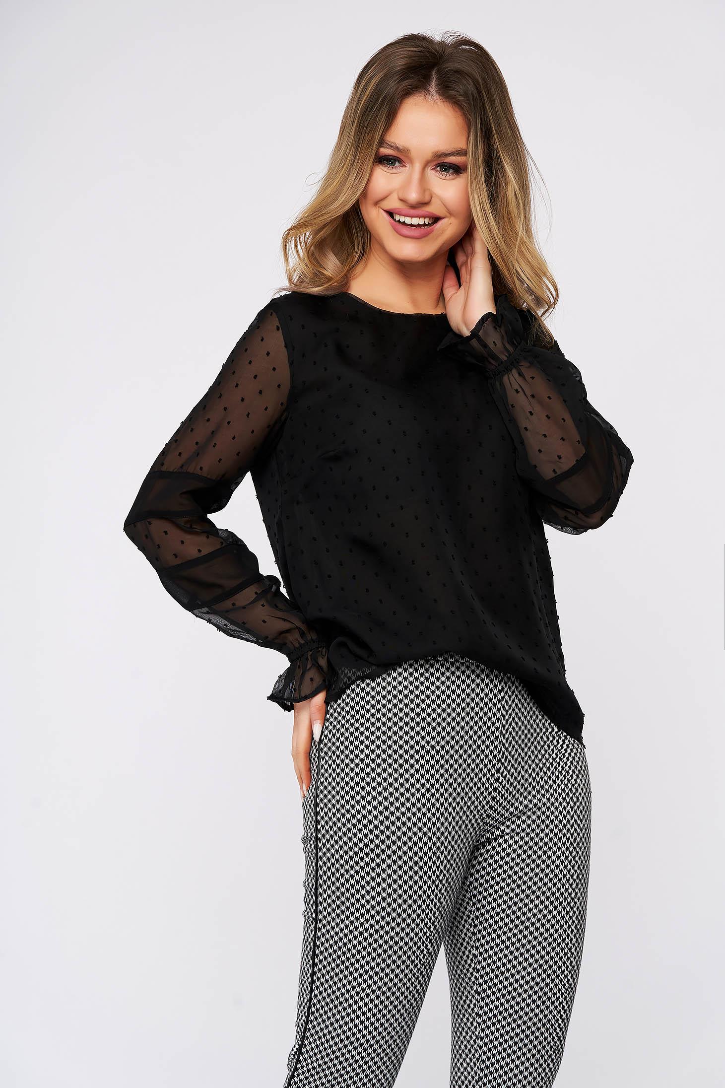 Bluza dama Top Secret neagra casual cu croi larg din voal maneci transparente