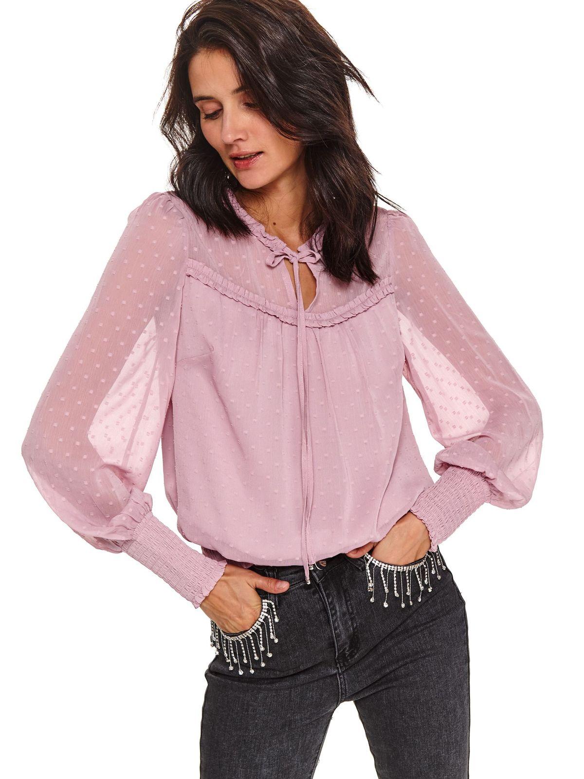 Bluza dama Top Secret roz deschis cu croi larg din voal cu maneci transparente