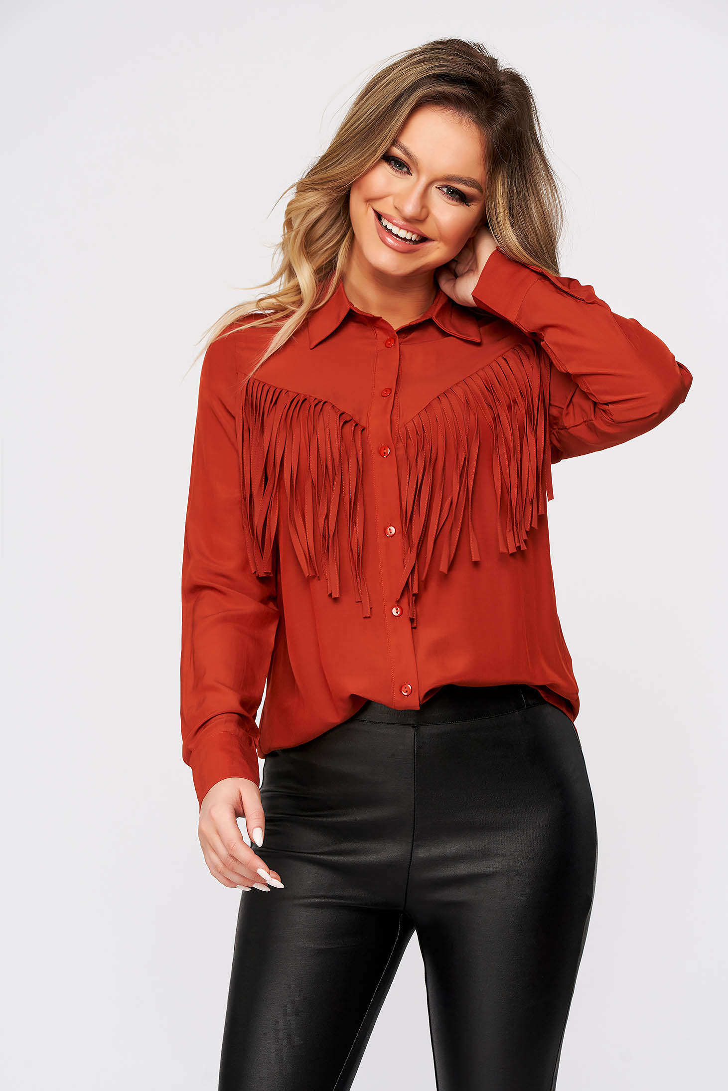 Red women`s shirt casual flared with fringes thin fabric