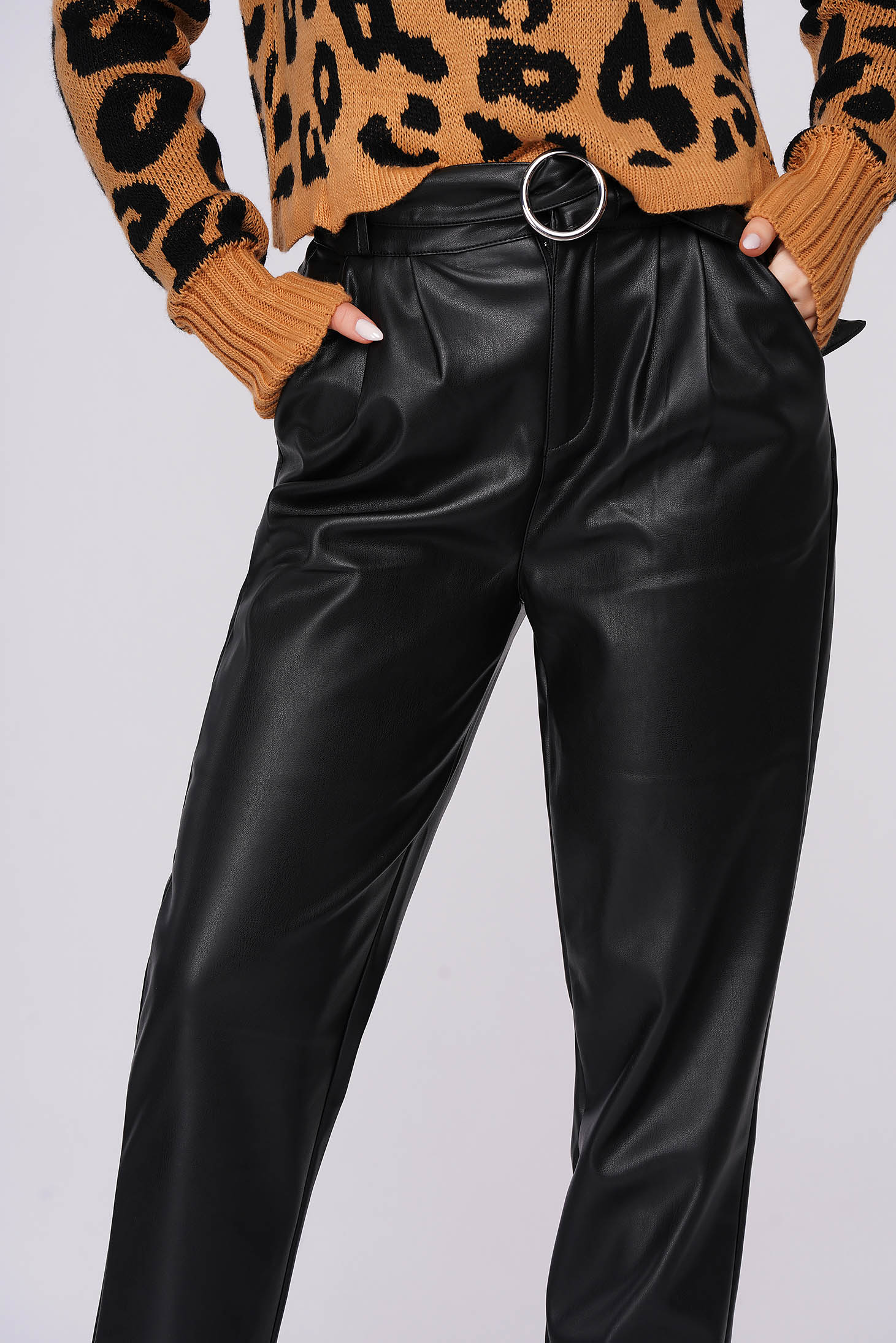 Black trousers casual high waisted faux leather accessorized with belt