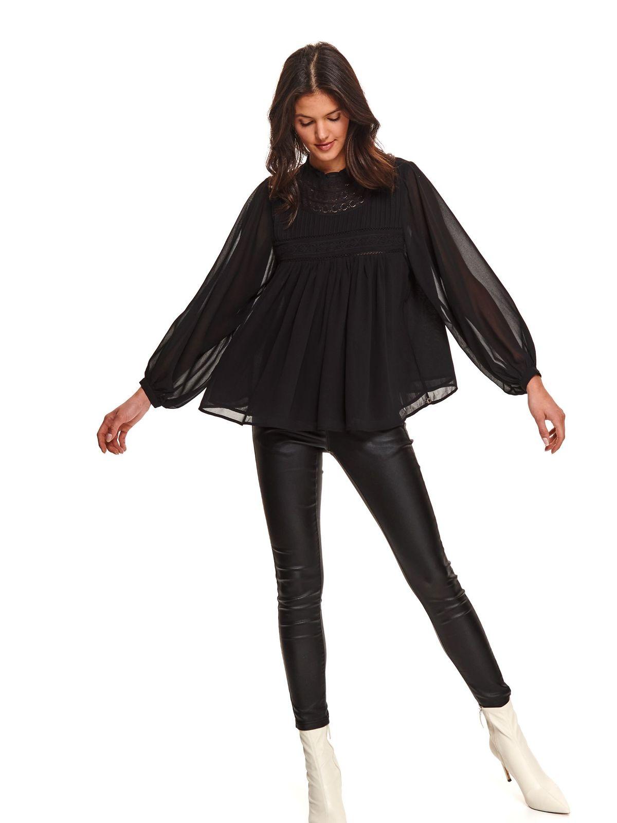 Bluza dama Top Secret neagra cu croi larg cu maneca lunga din voal