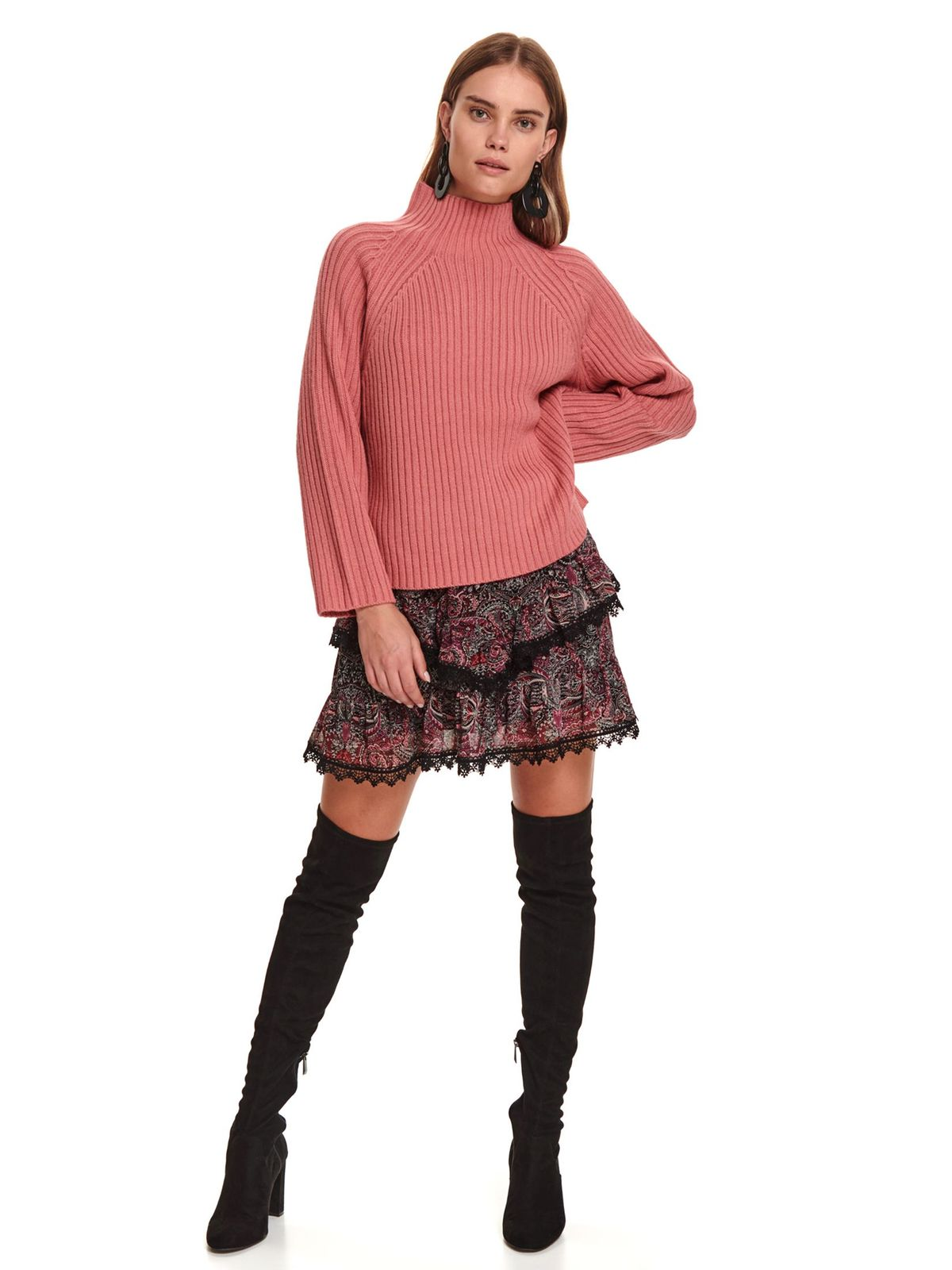 Pink sweater casual flared with turtle neck knitted fabric