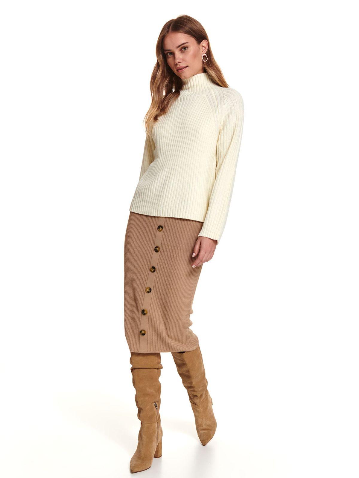 Pulover Top Secret piersica casual din material tricotat