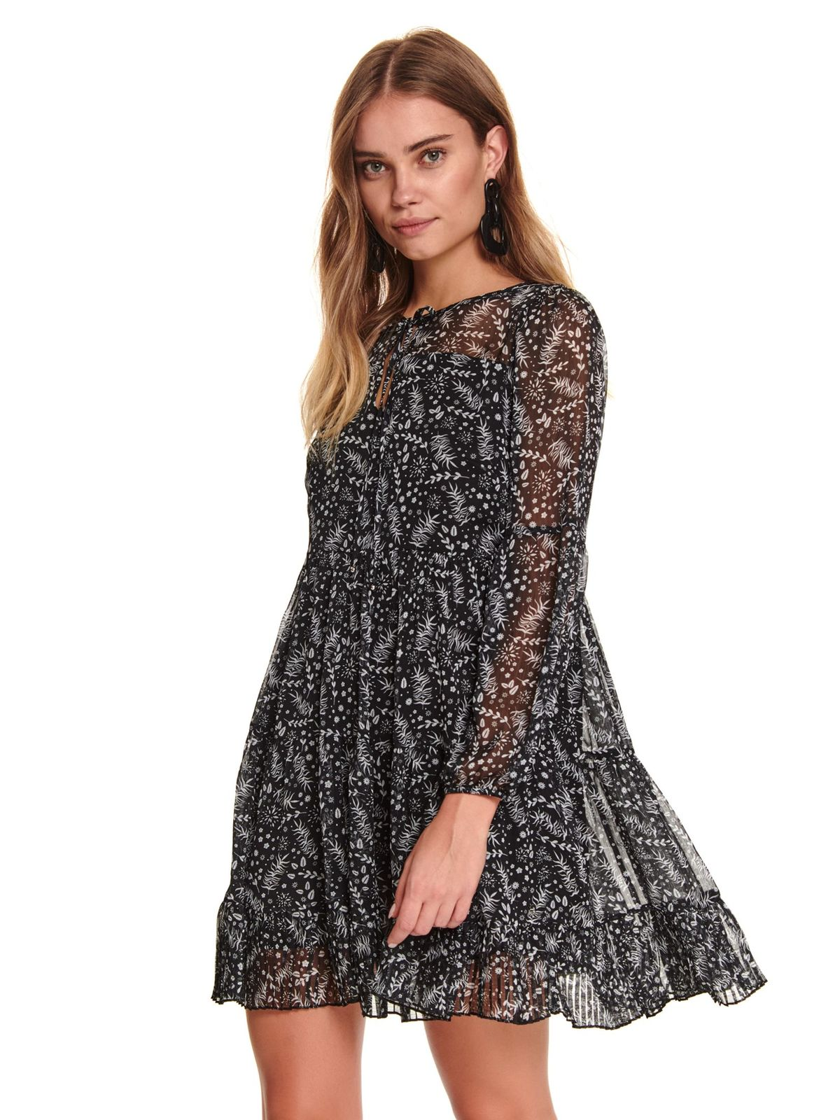 Black dress casual short cut flared voile fabric with floral print