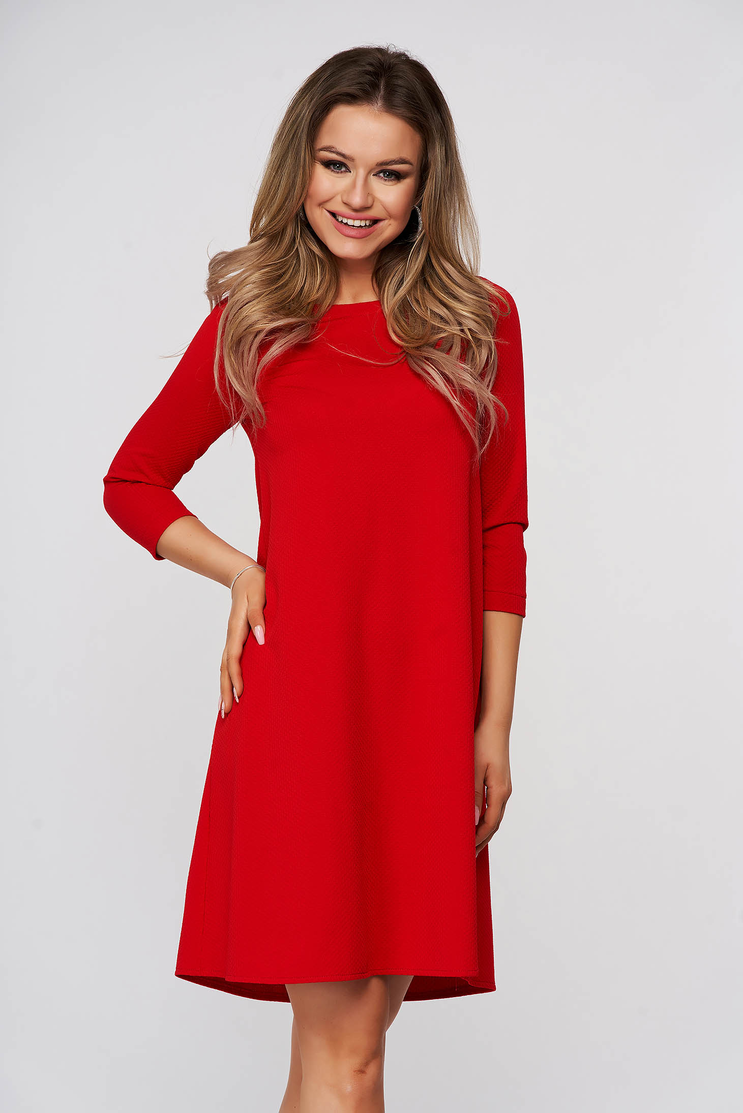 Piros bő szabású rövid StarShinerS ruha rugalmas anyagból