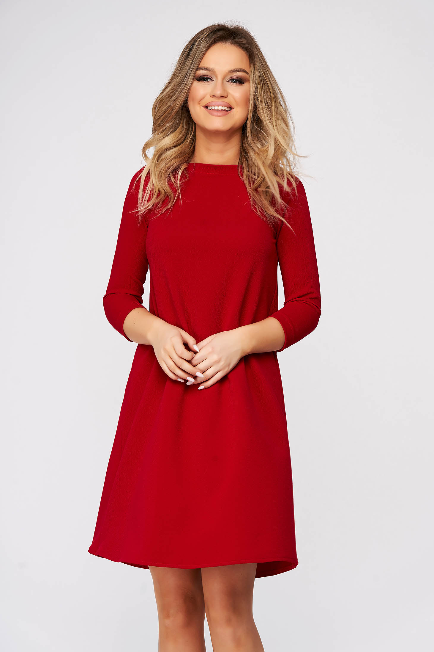Rochie StarShinerS rosie scurta de zi din material elastic cu croi larg