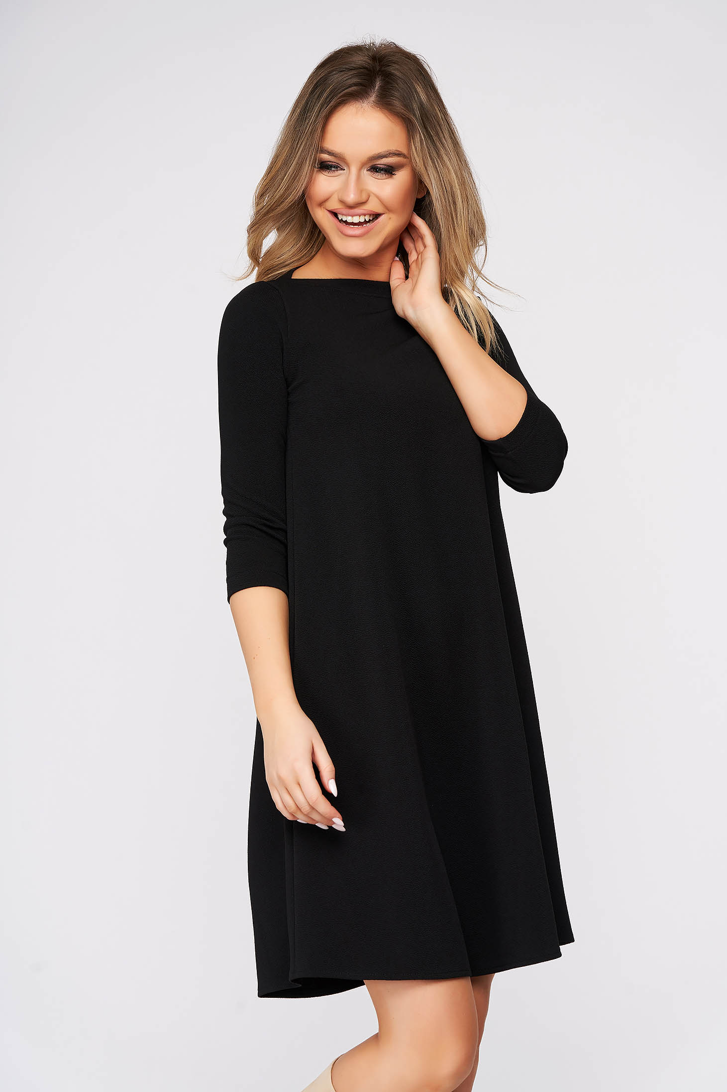 StarShinerS black dress short cut daily flared from elastic fabric