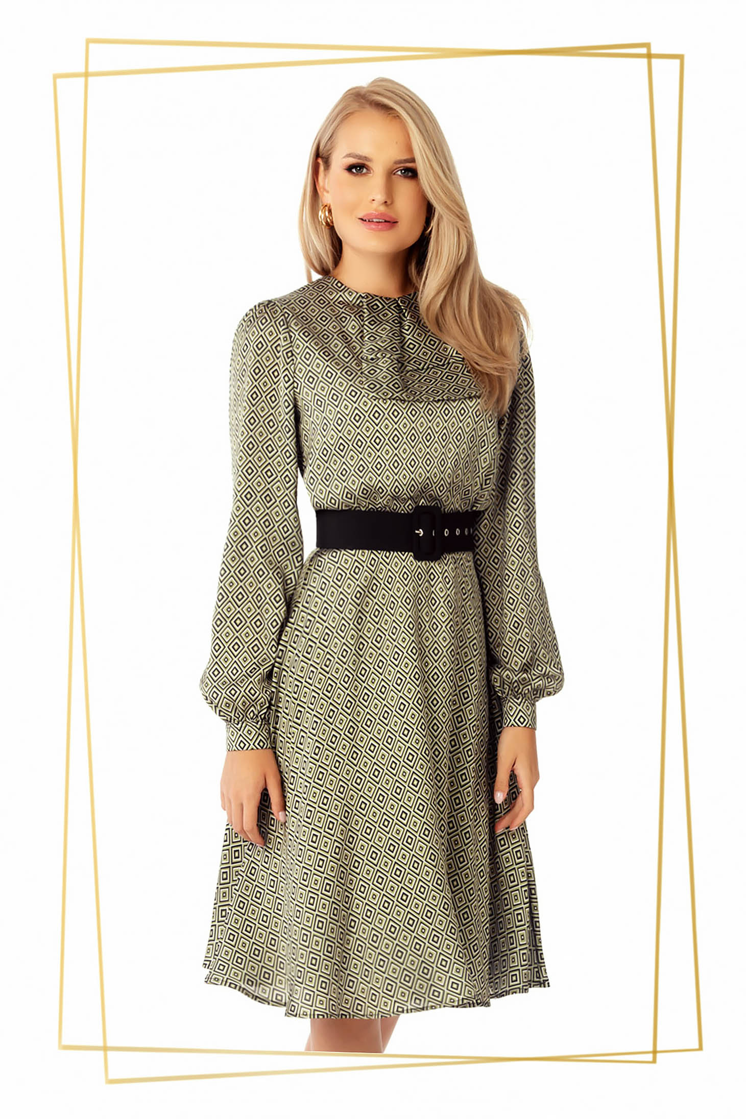 Dress khaki midi daily cloche from satin accessorized with belt
