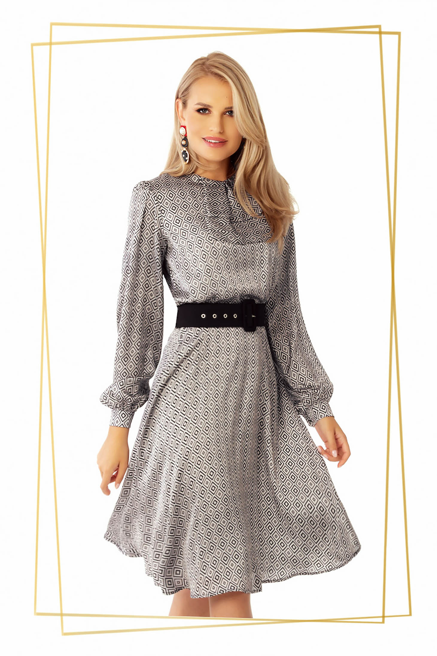 Dress white midi daily cloche from satin accessorized with belt
