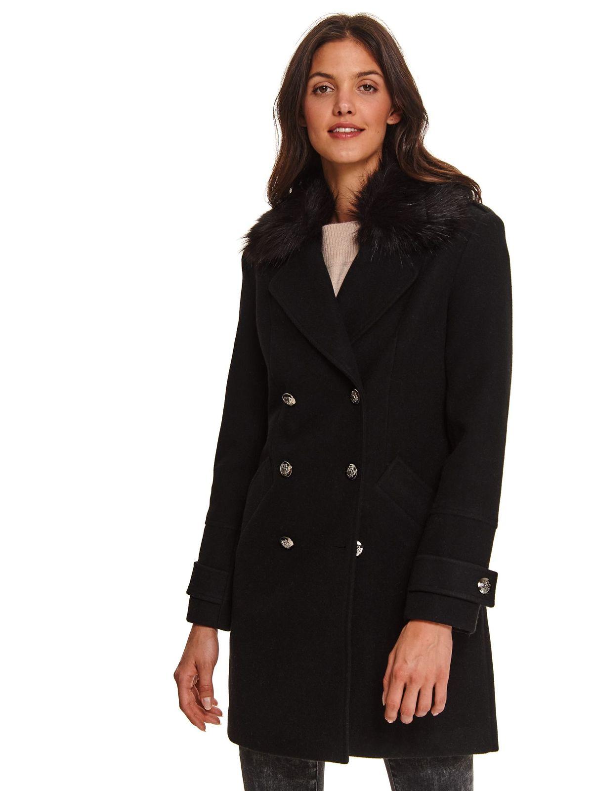 Fekete casual egyenes kabát vastag szövet anyagból