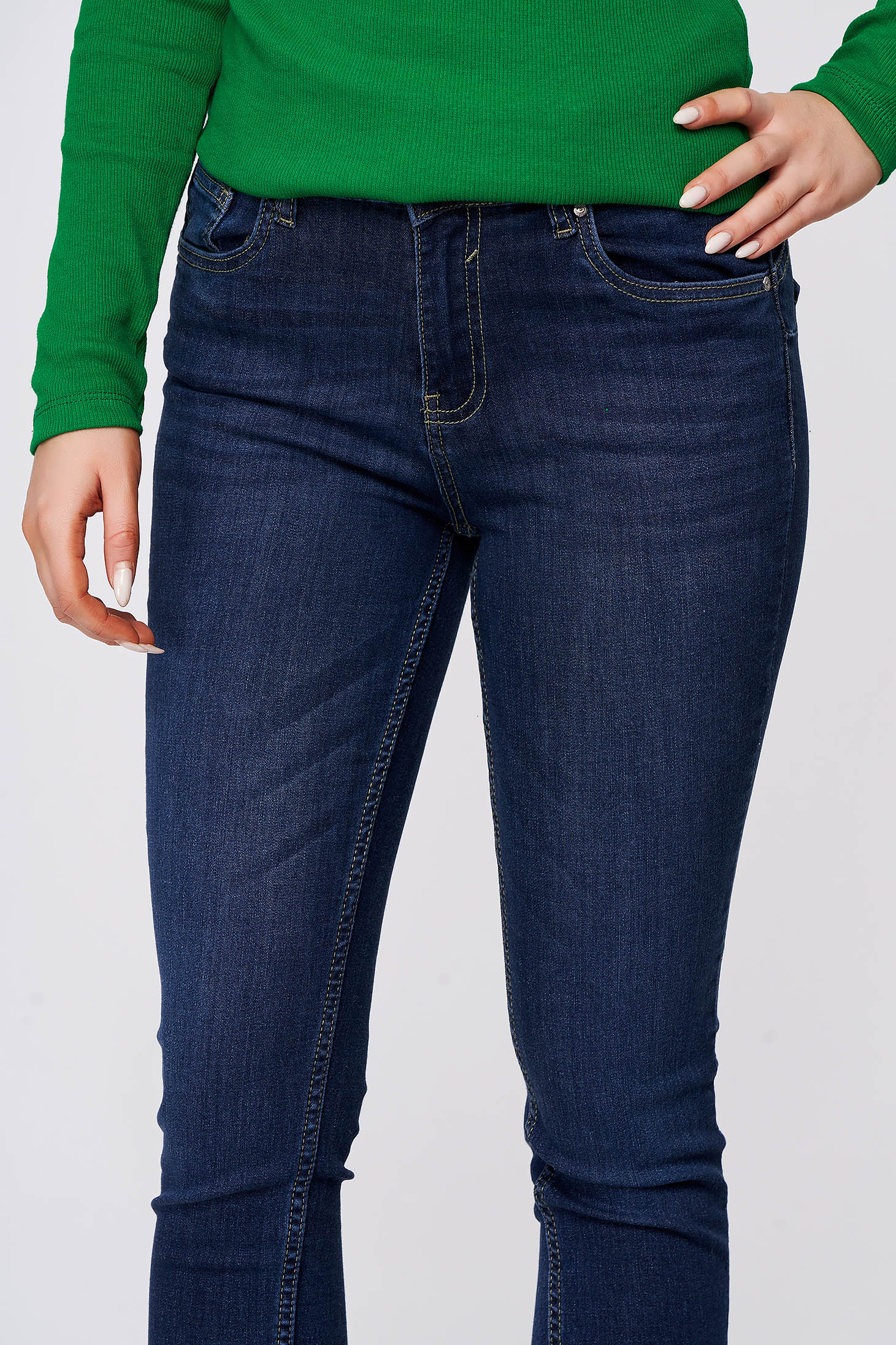 Darkblue jeans casual skinny jeans slightly elastic cotton with medium waist