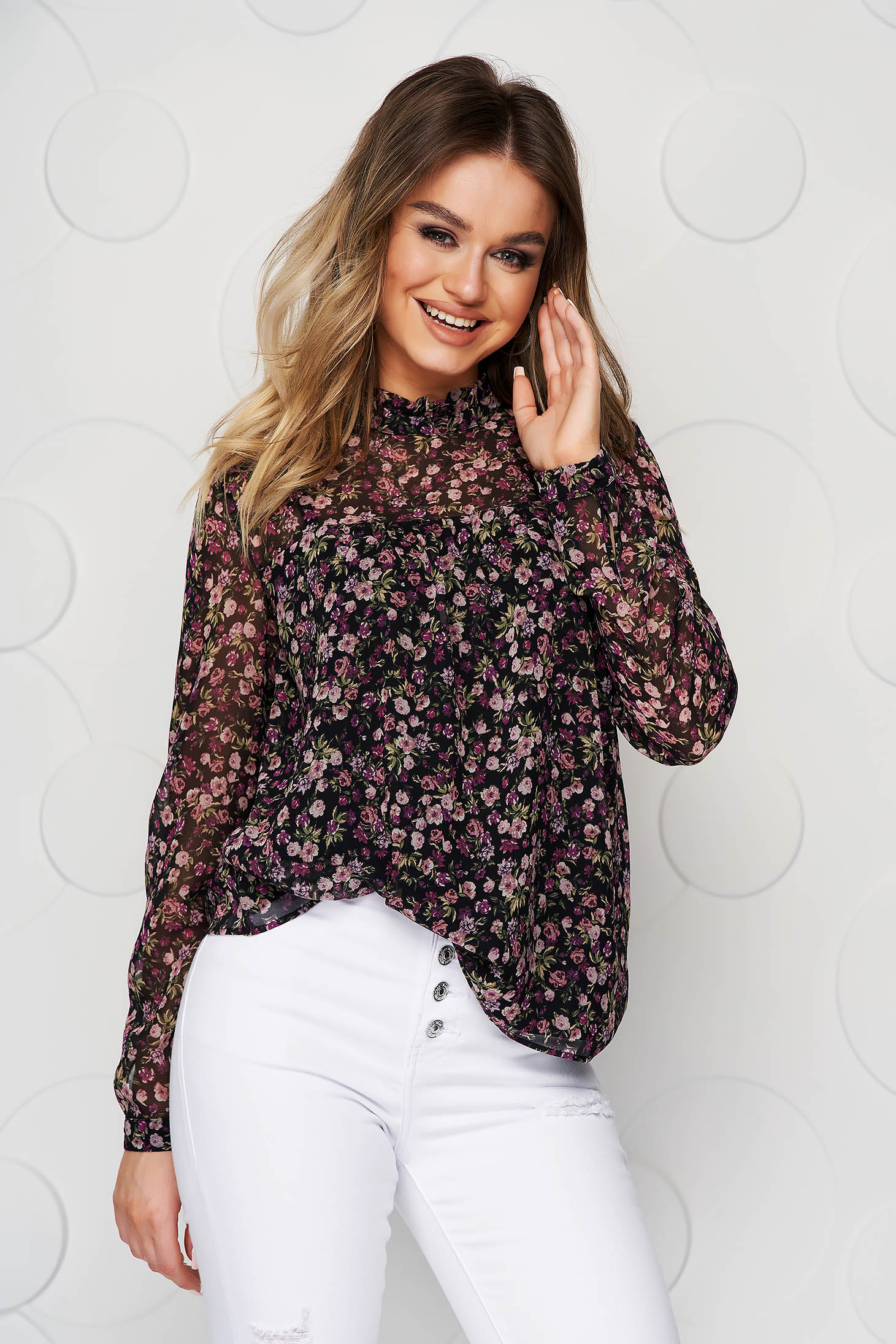 Black women`s blouse casual flared with floral prints