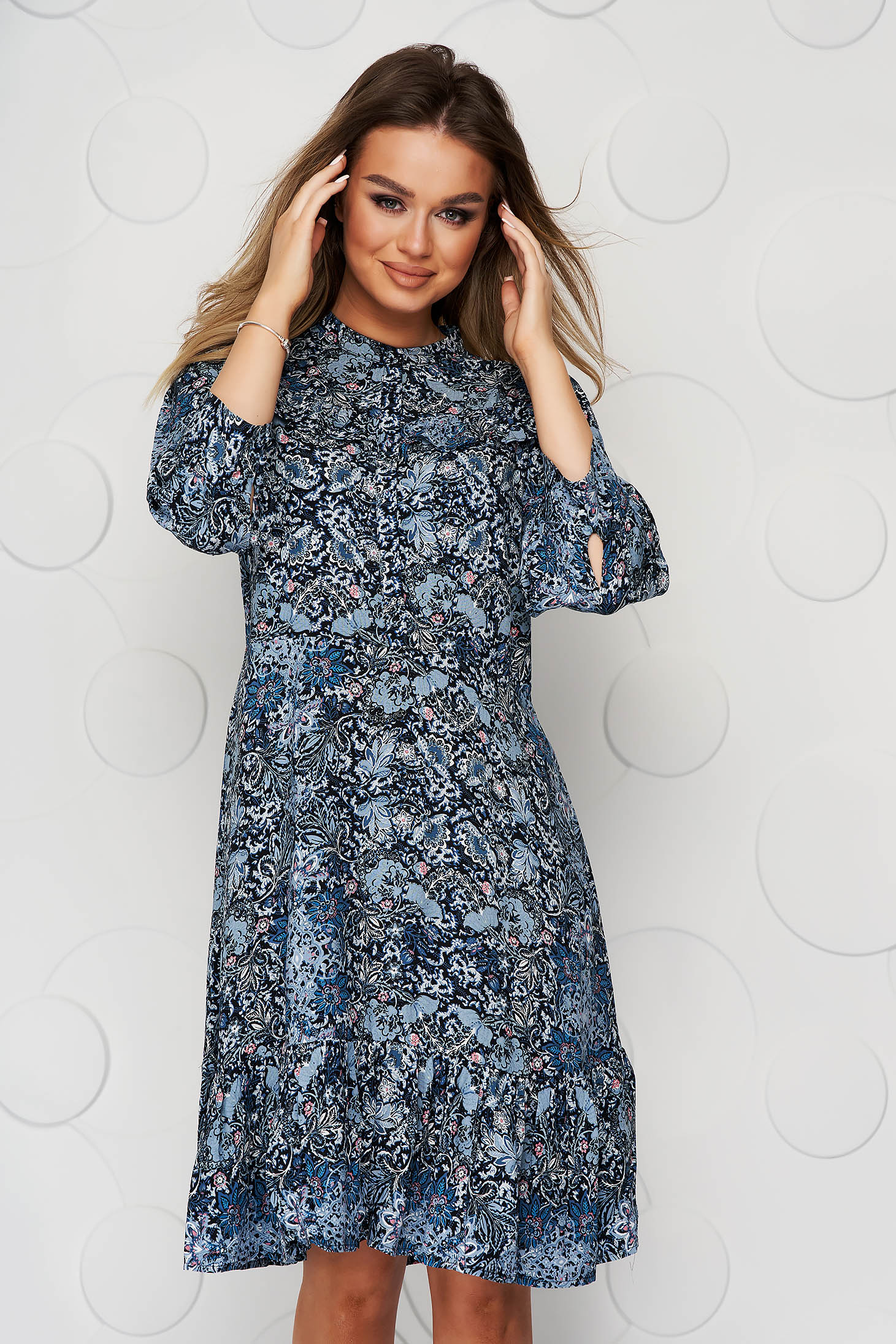 Blue dress casual short cut flared airy fabric with floral print