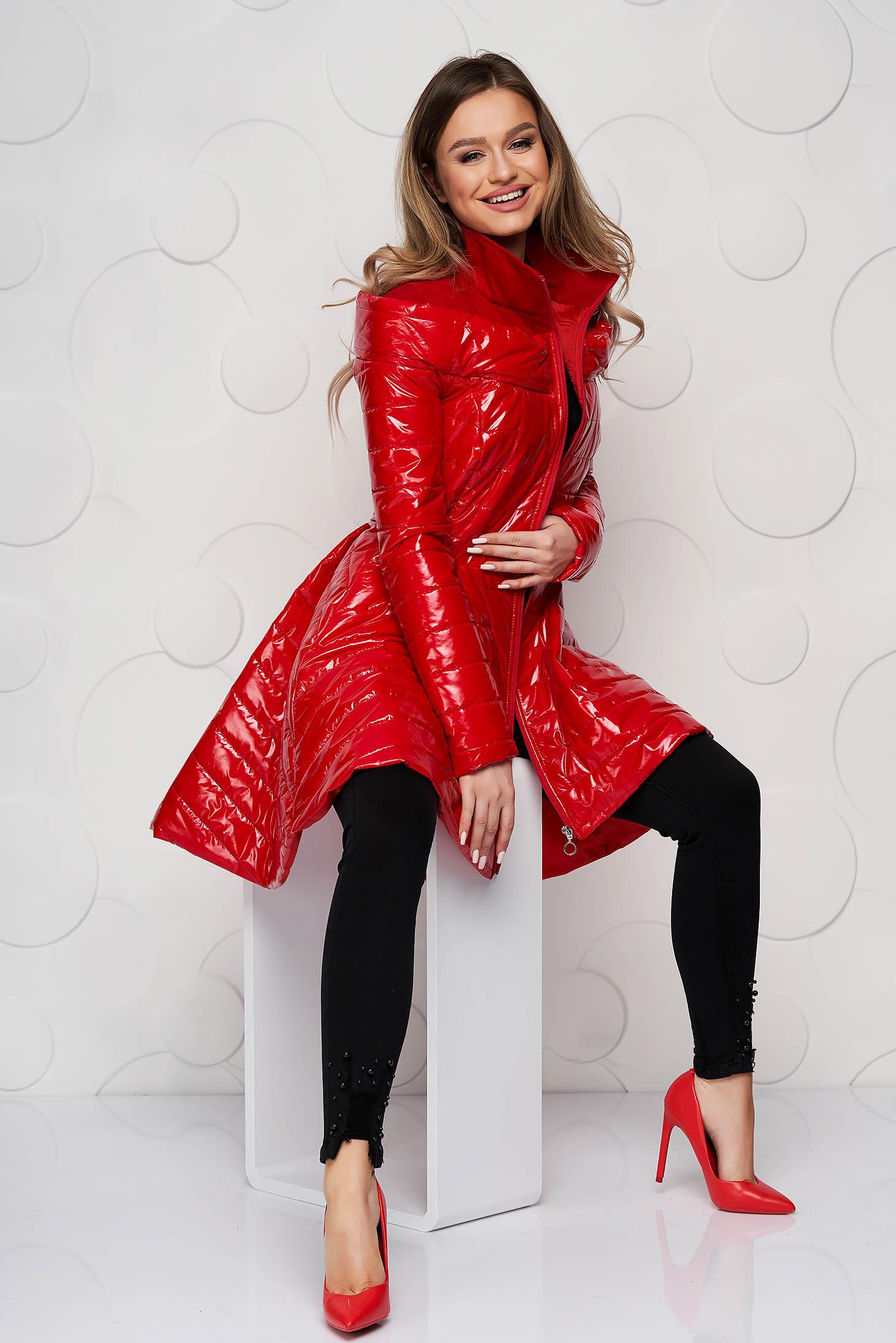 Piros füss casual asszimmetrikus béléssel ellátott dzseki