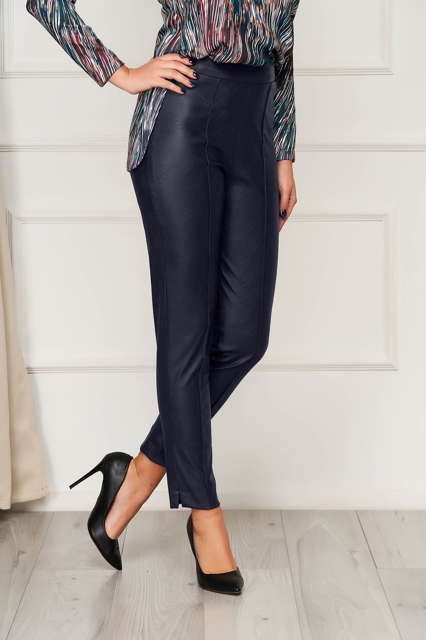 Casual darkblue StarShinerS trousers from ecological leather with tented cut high waisted