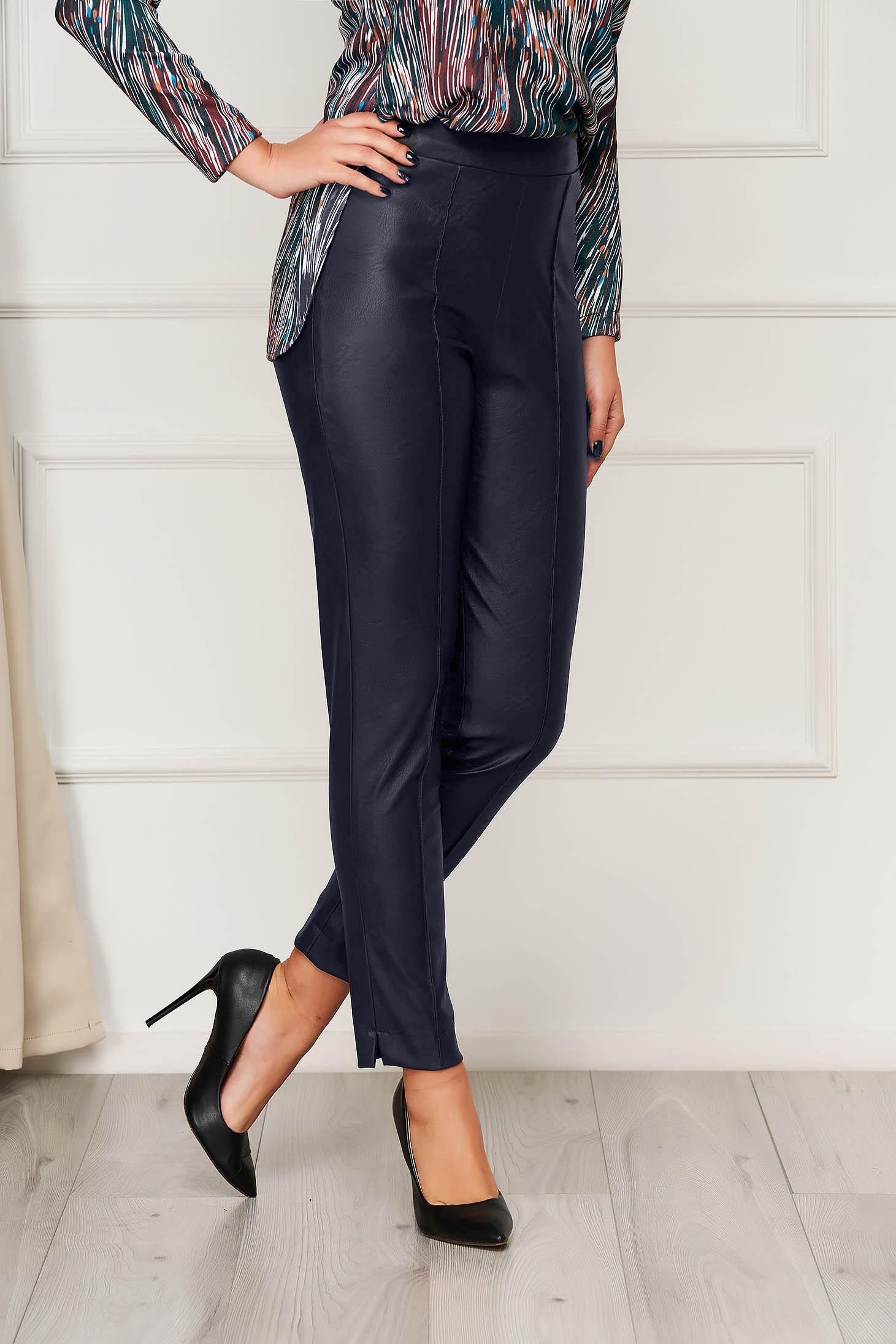 Pantaloni StarShinerS albastru-inchis casual din piele ecologica cu un croi mulat cu talie inalta