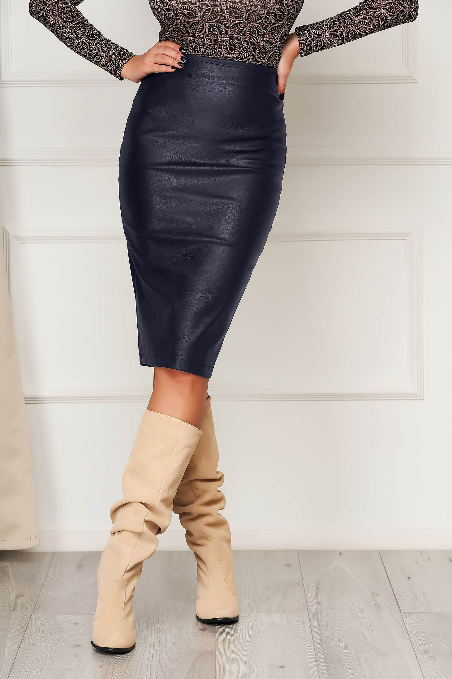 StarShinerS darkblue pencil skirt from ecological leather basic high waisted