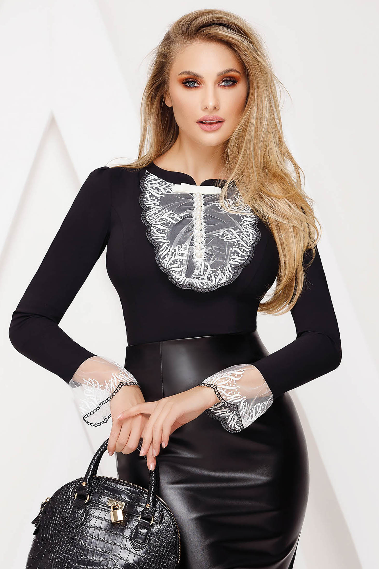 Black women`s blouse office tented cotton with lace details