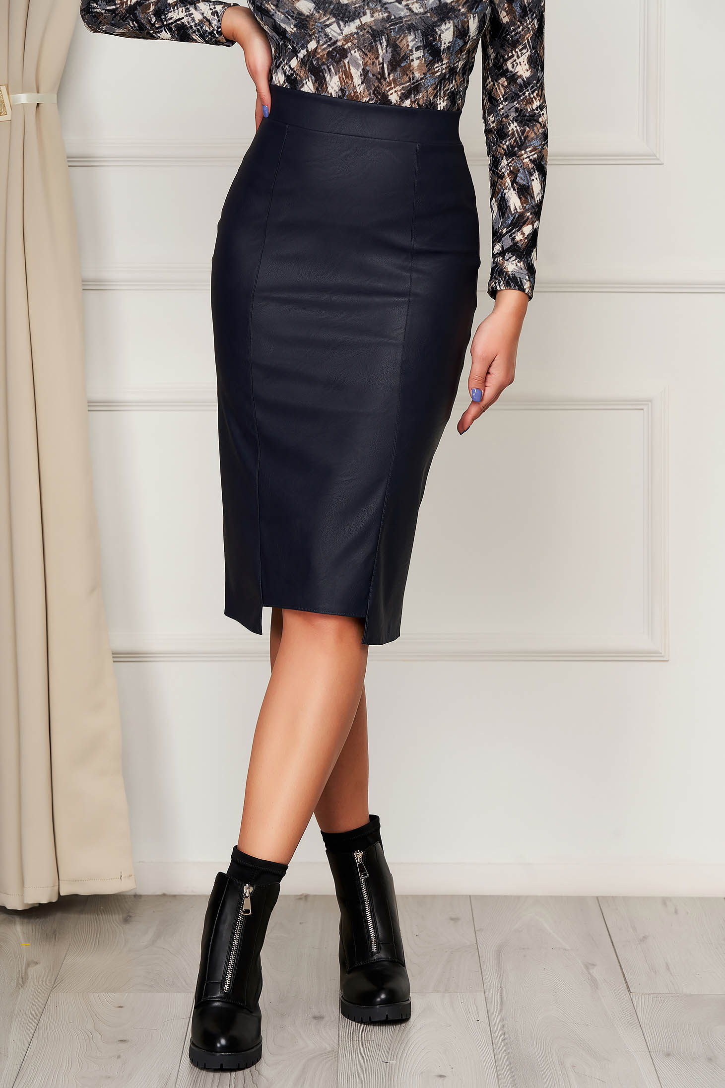 Skirt StarShinerS darkblue midi high waisted from ecological leather office