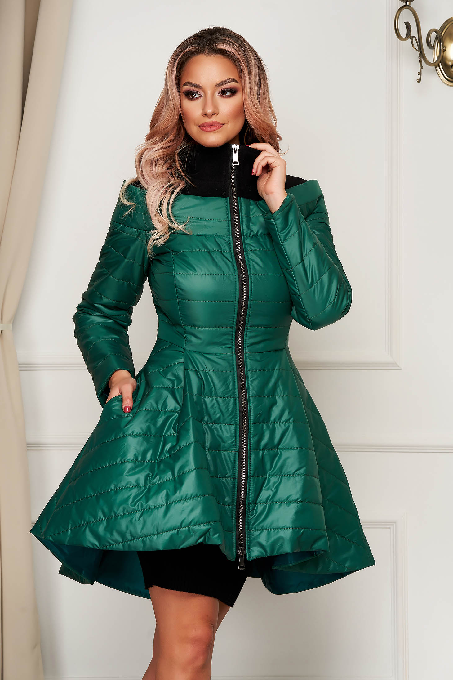 Green from slicker jacket asymmetrical casual with inside lining
