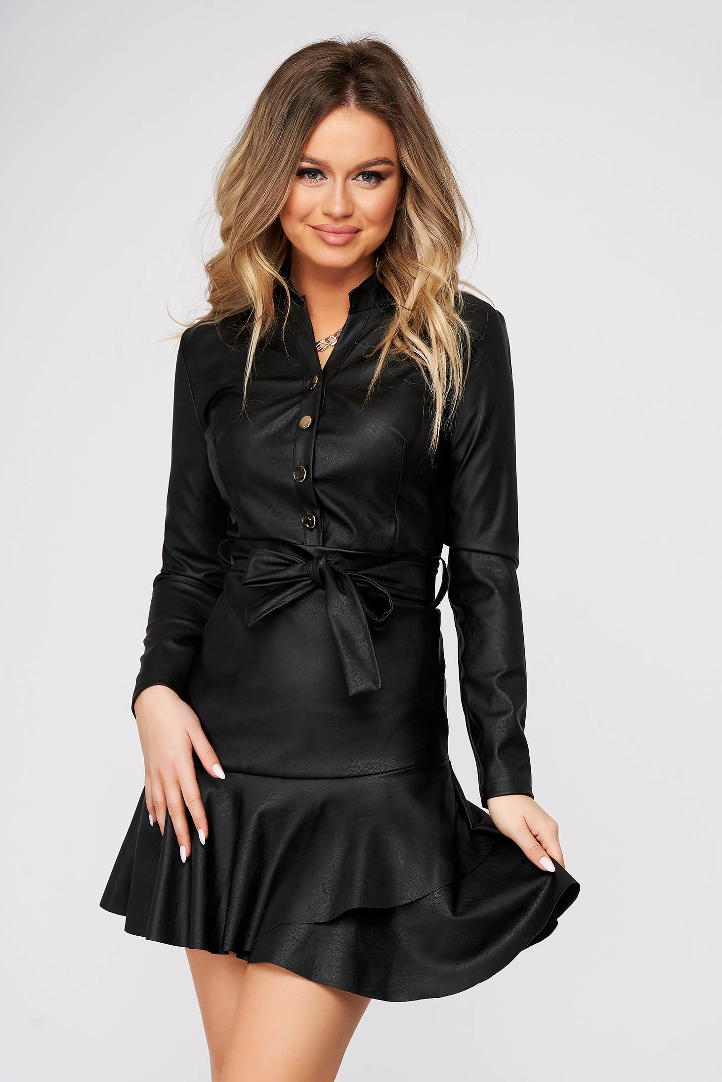 Black dress daily cloche faux leather accessorized with tied waistband with ruffles at the buttom of the dress