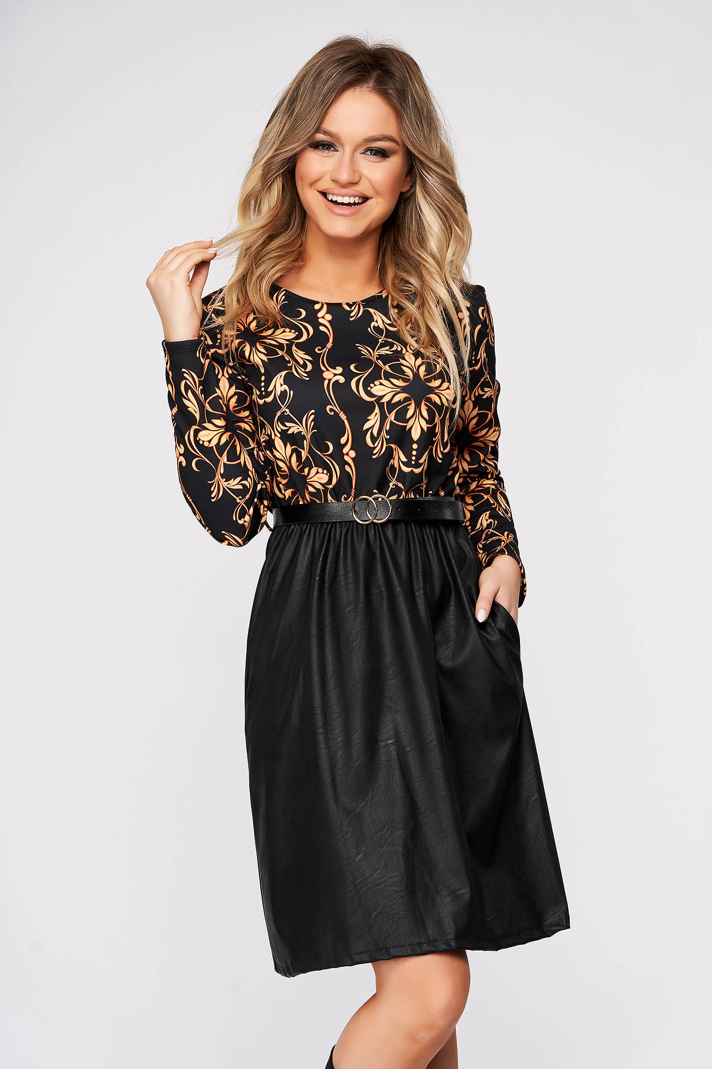 Black dress daily cloche with elastic waist accessorized with belt