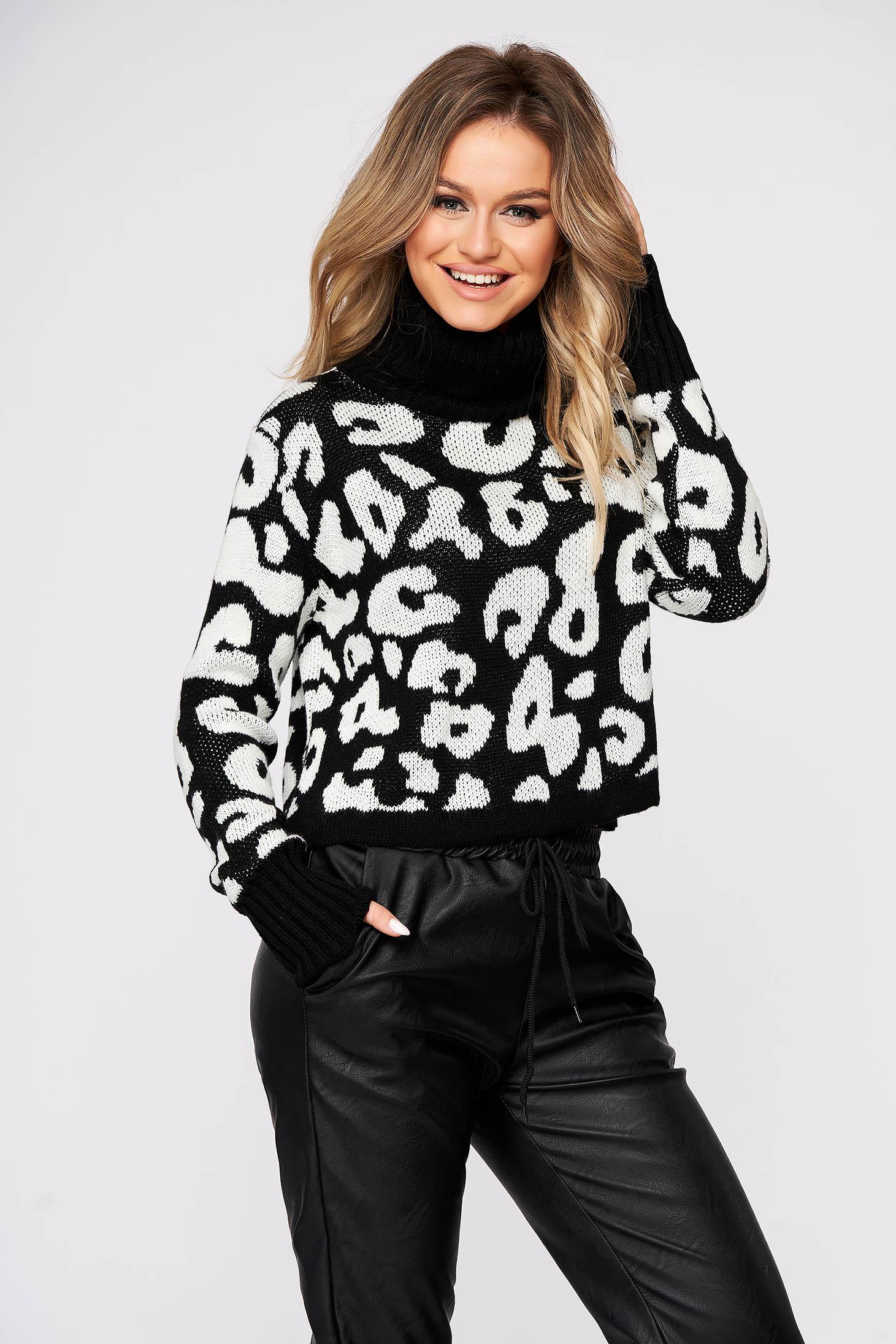 Pulover SunShine negru casual scurt pe gat cu croi larg din material tricotat