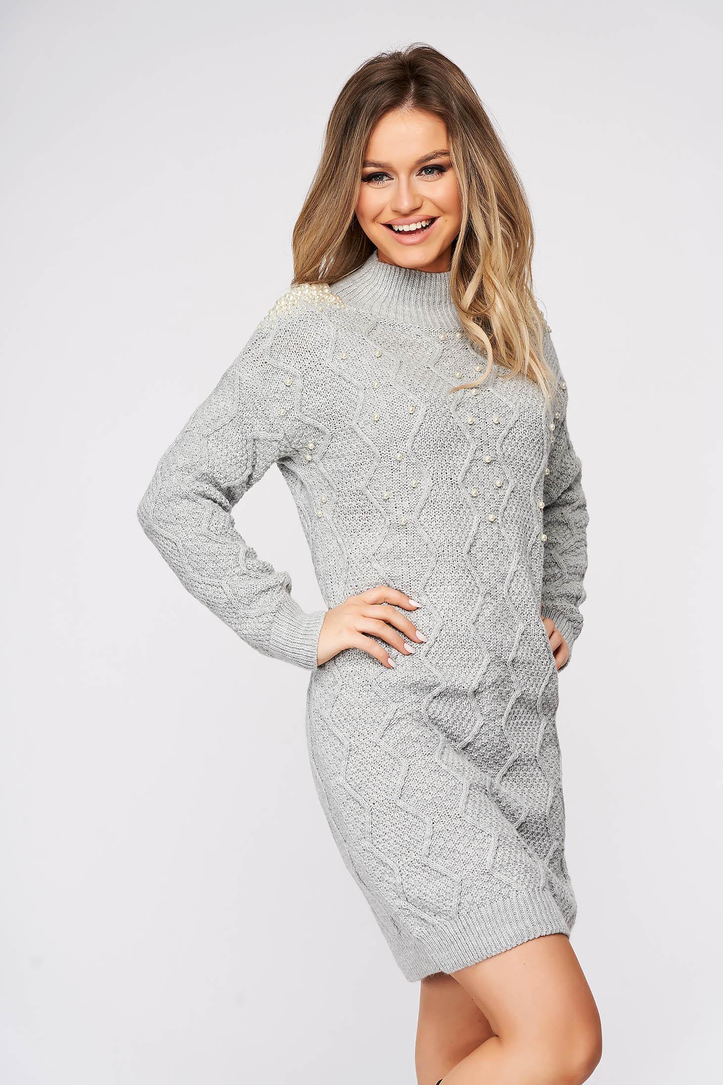 Pulover SunShine gri casual din material tricotat cu aplicatii cu perle