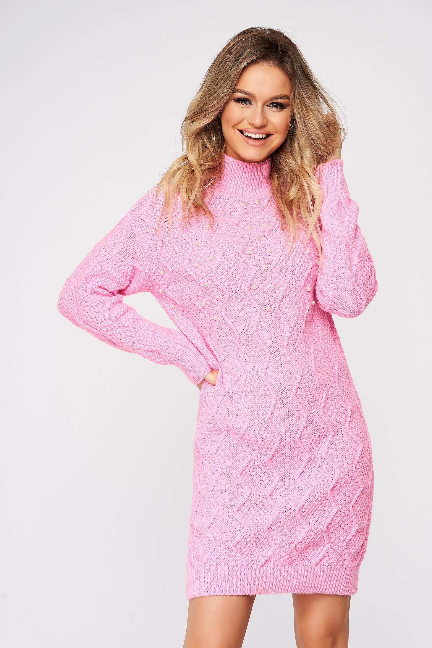 Pulover SunShine roz casual din material tricotat cu aplicatii cu perle
