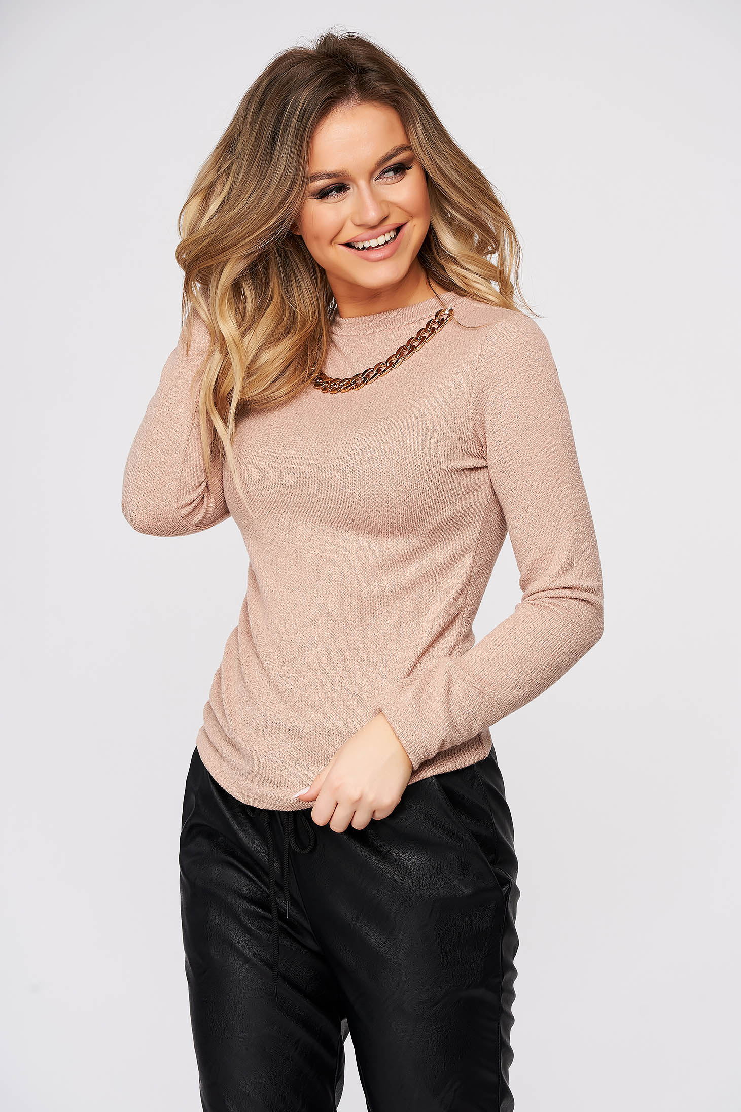 Cream sweater casual with tented cut metallic chain accessory knitted fabric