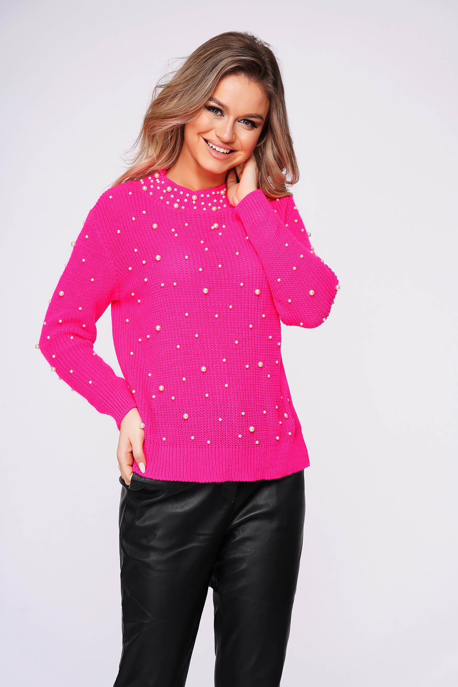 Pulover SunShine roz casual cu croi larg din material tricotat cu aplicatii cu perle