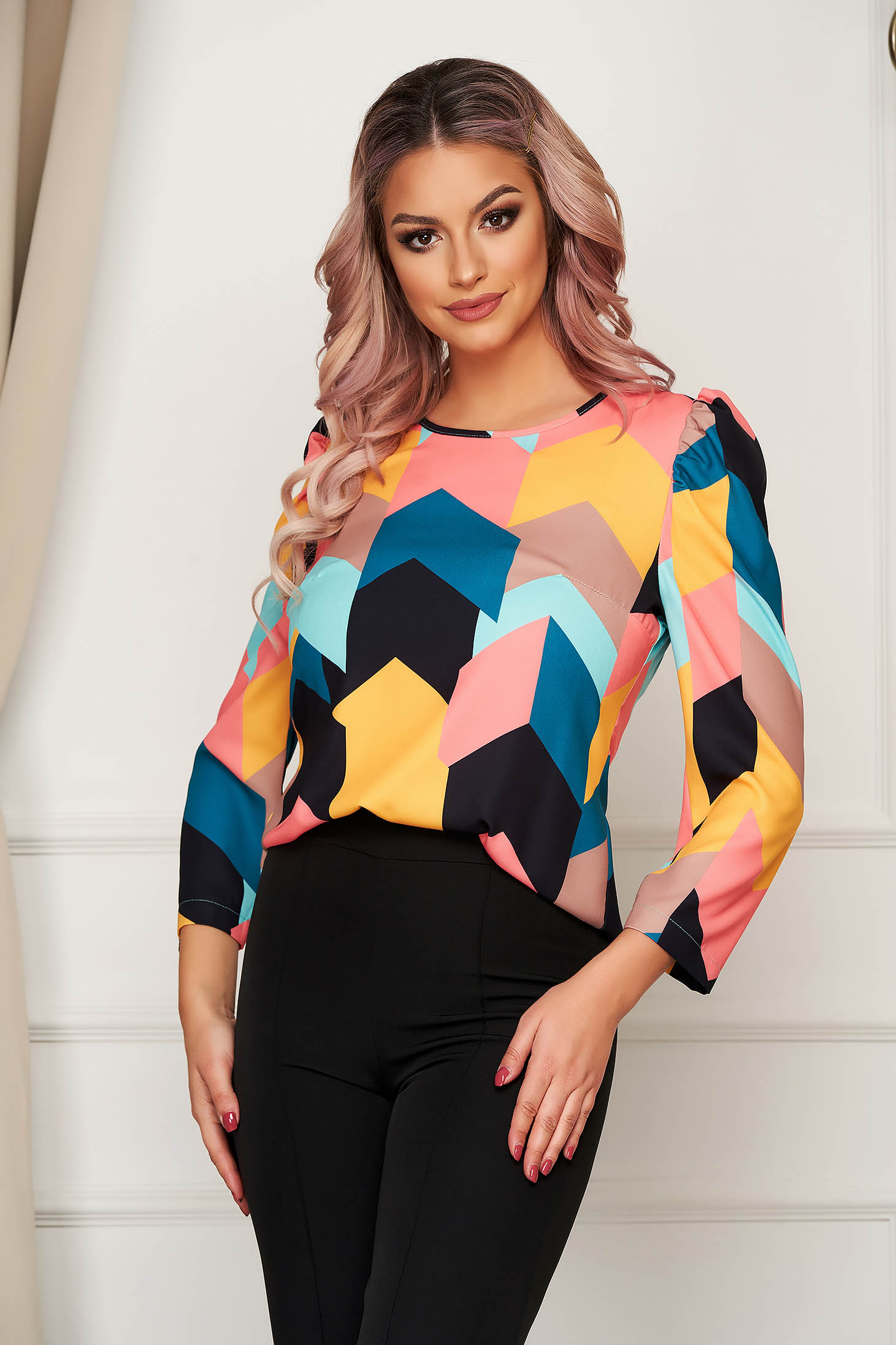 StarShinerS black with tented cut women`s blouse with puffed sleeves slightly elastic fabric