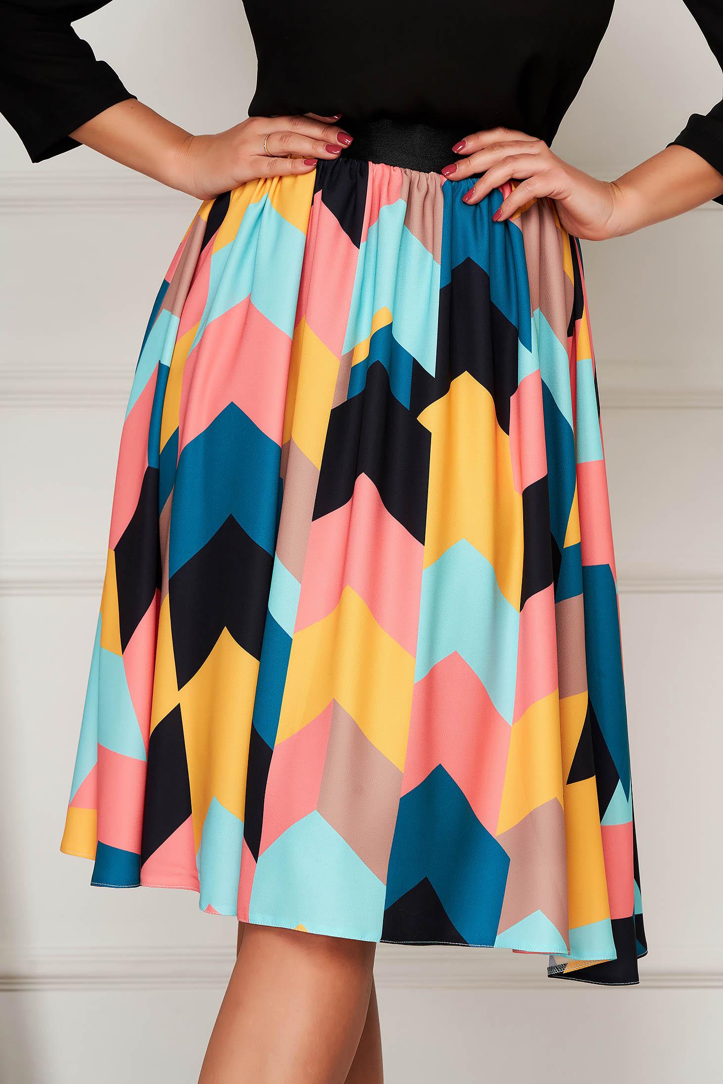 Midi black StarShinerS cloche skirt elastic waist slightly elastic fabric