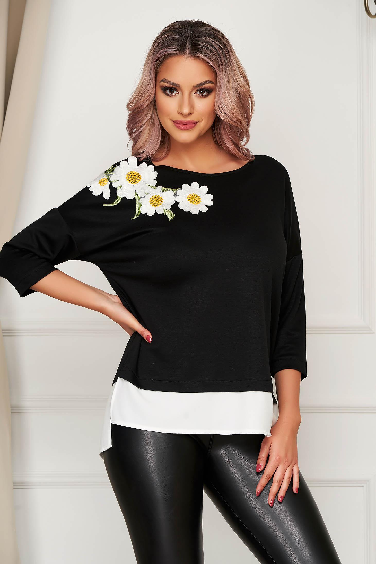 StarShinerS flared black women`s blouse