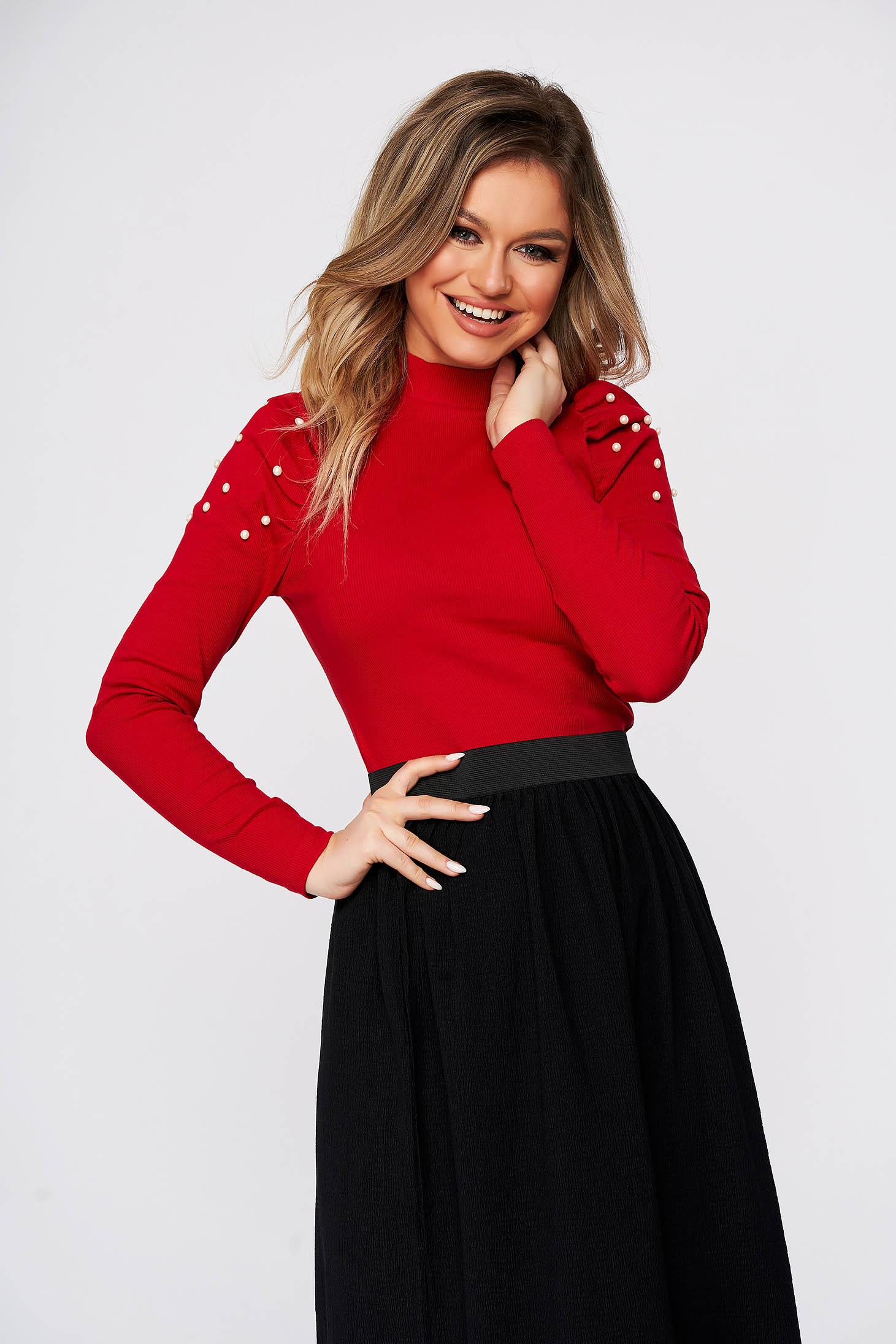 Bluza dama SunShine rosie mulata scurta pe gat din material reiat cu umeri cu volum