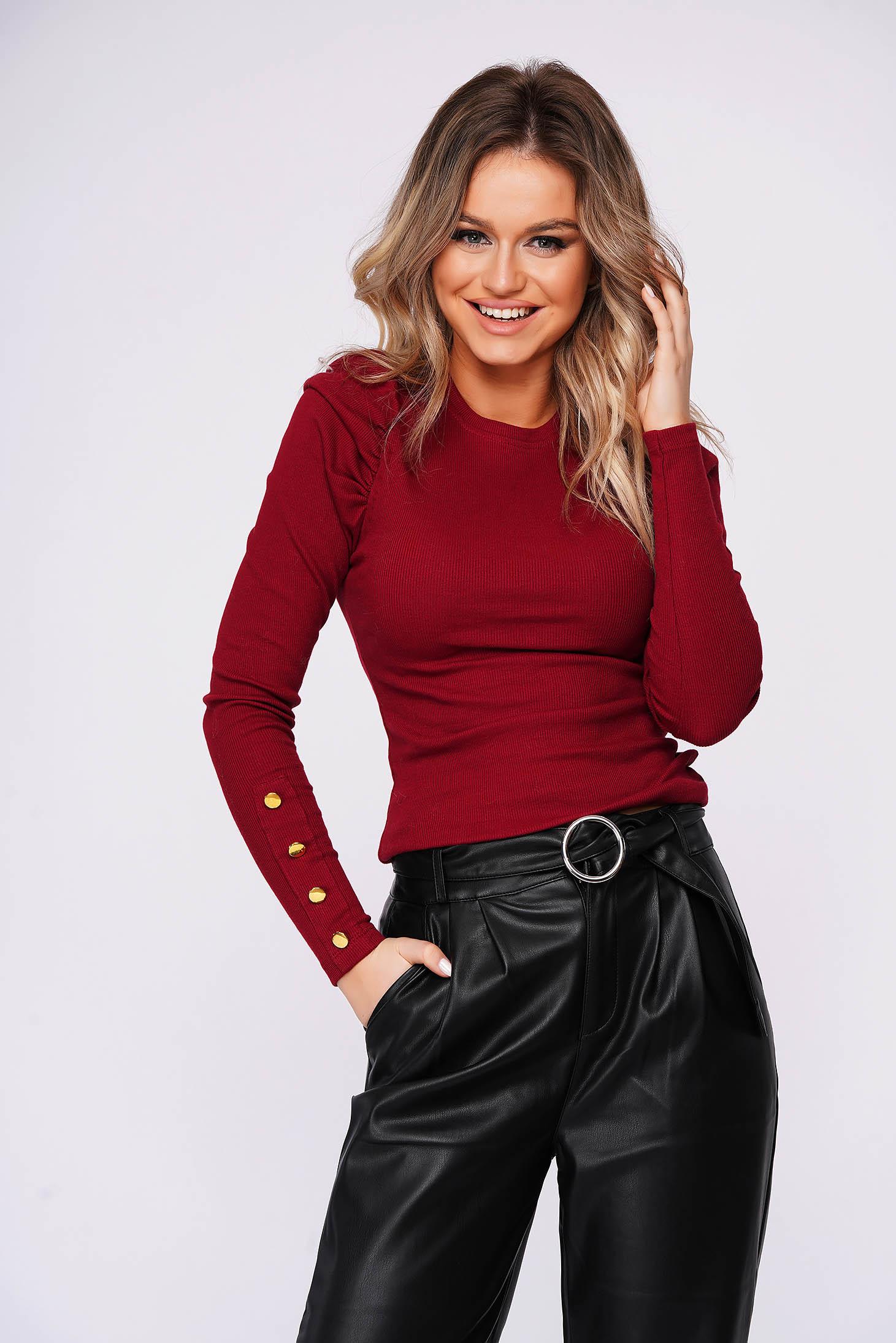Burgundy short cut tented cotton women`s blouse high shoulders